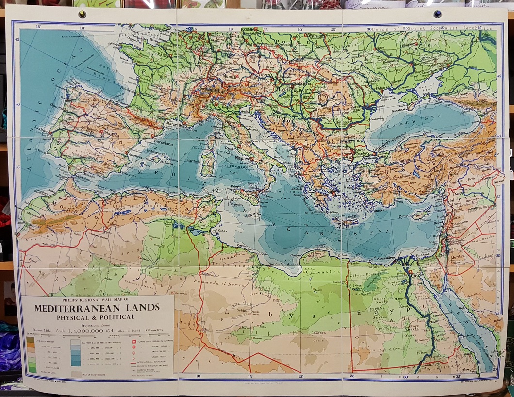 Image for Philips' Regional Wall Map of Mediterranean Lands, Physical and Political.