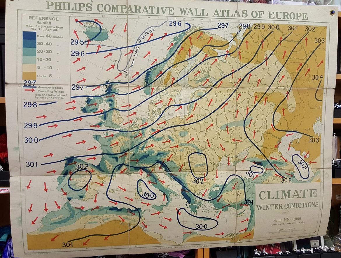 Image for Philips' Comparative Wall Atlas of Europe: Climate - Winter Conditions.