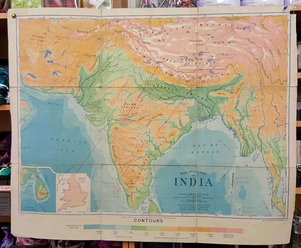 Image for G.W. Bacon Wall Atlas of India - Contours