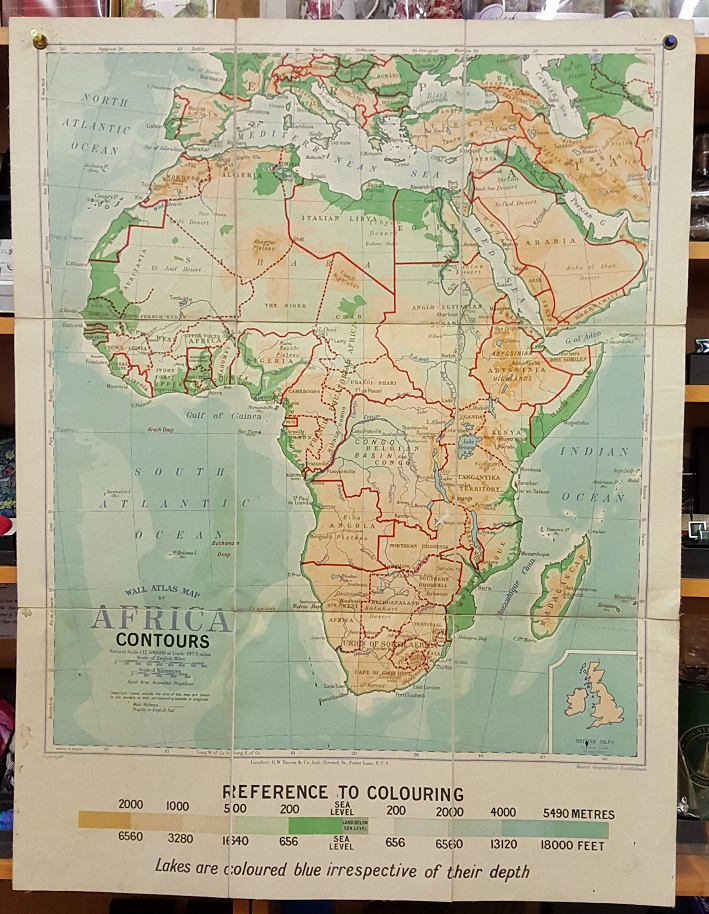 Image for G.W. Bacon Wall Atlas of Africa - Contours