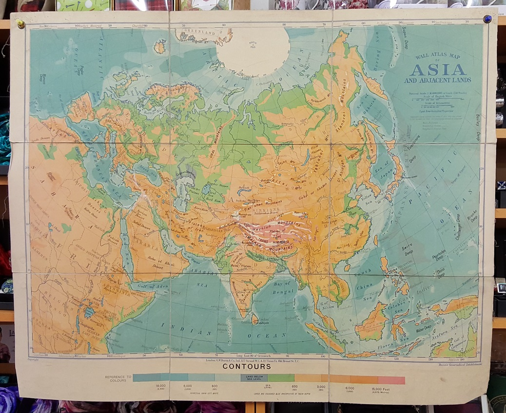 Image for G.W. Bacon Wall Atlas of Asia and Adjacent Lands - Contours
