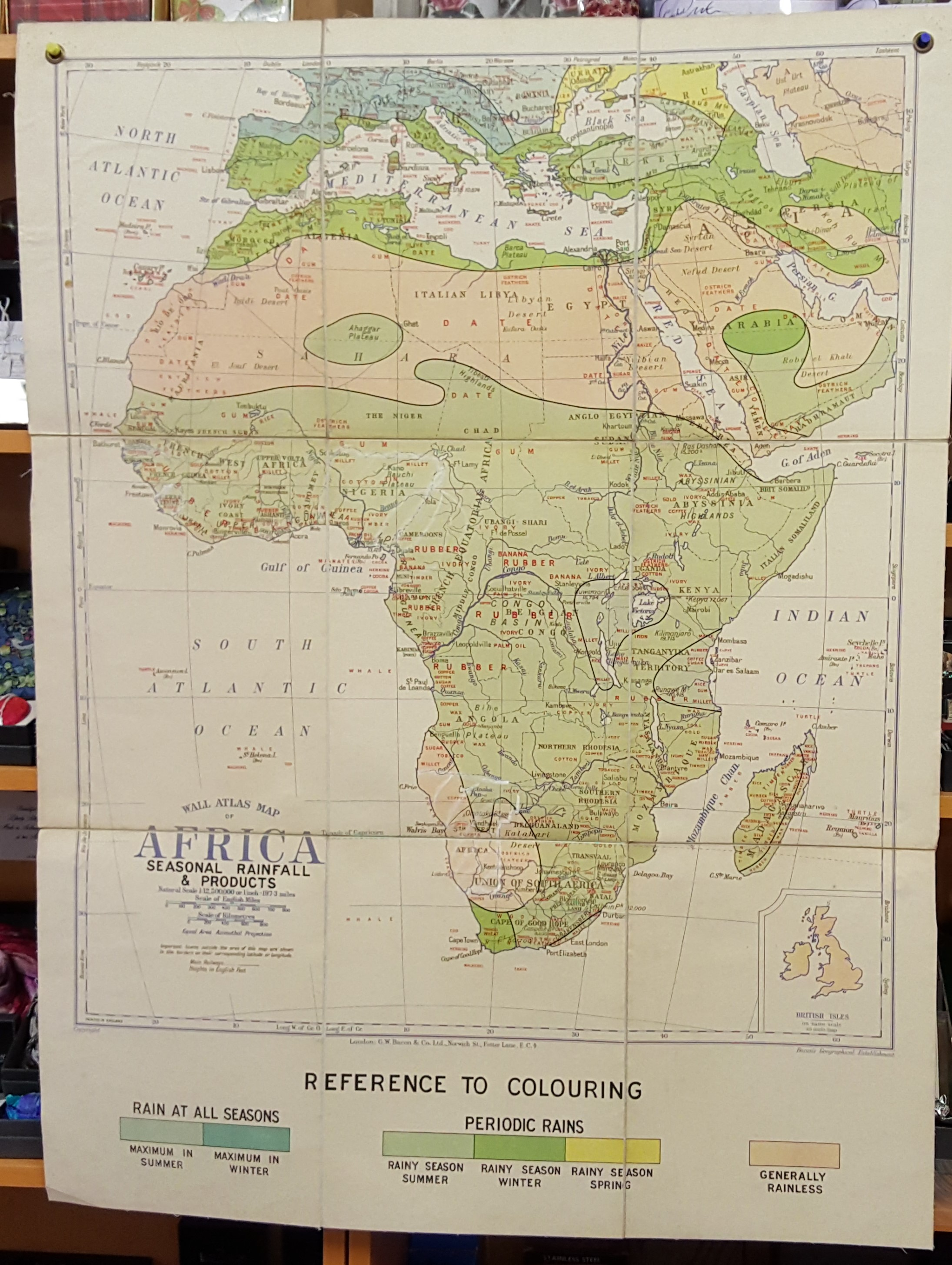 Image for G.W. Bacon Wall Atlas of Africa - Climate and Crops