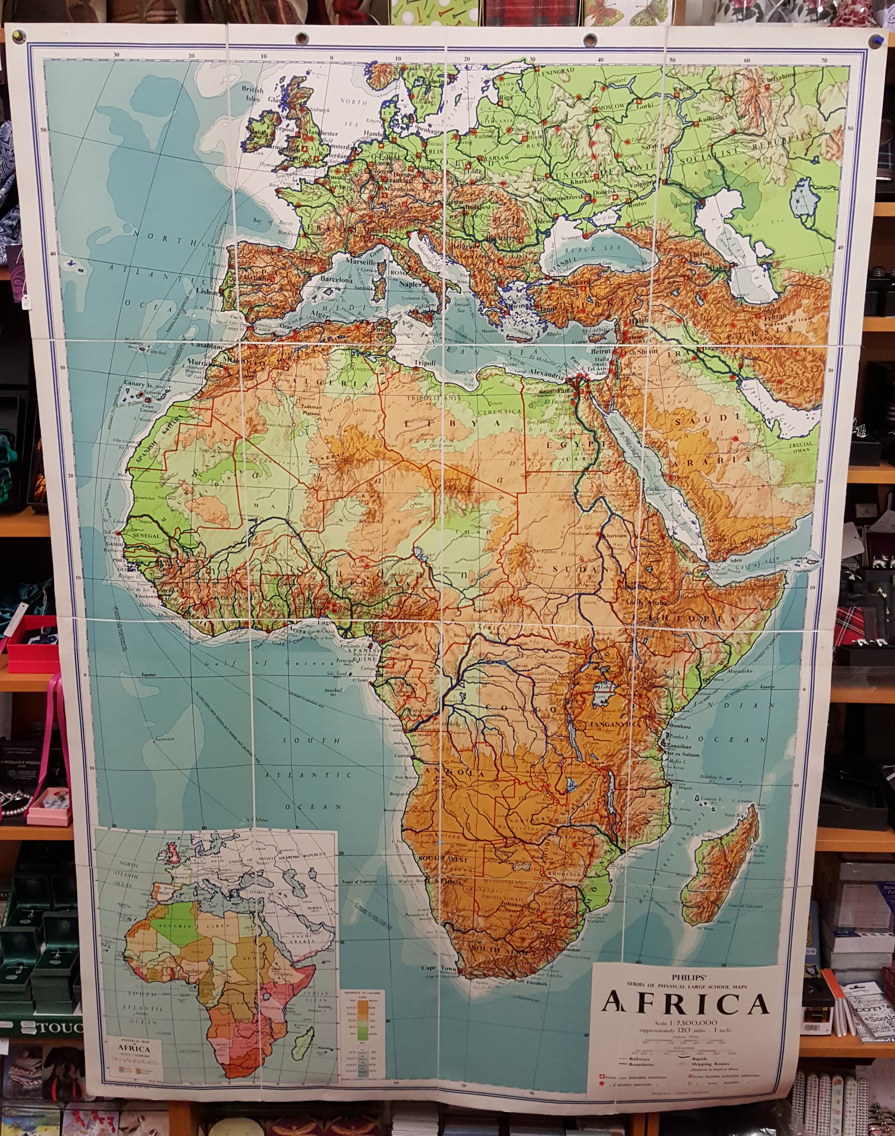 Image for Philips' Large School-Room Map of Africa - Physical