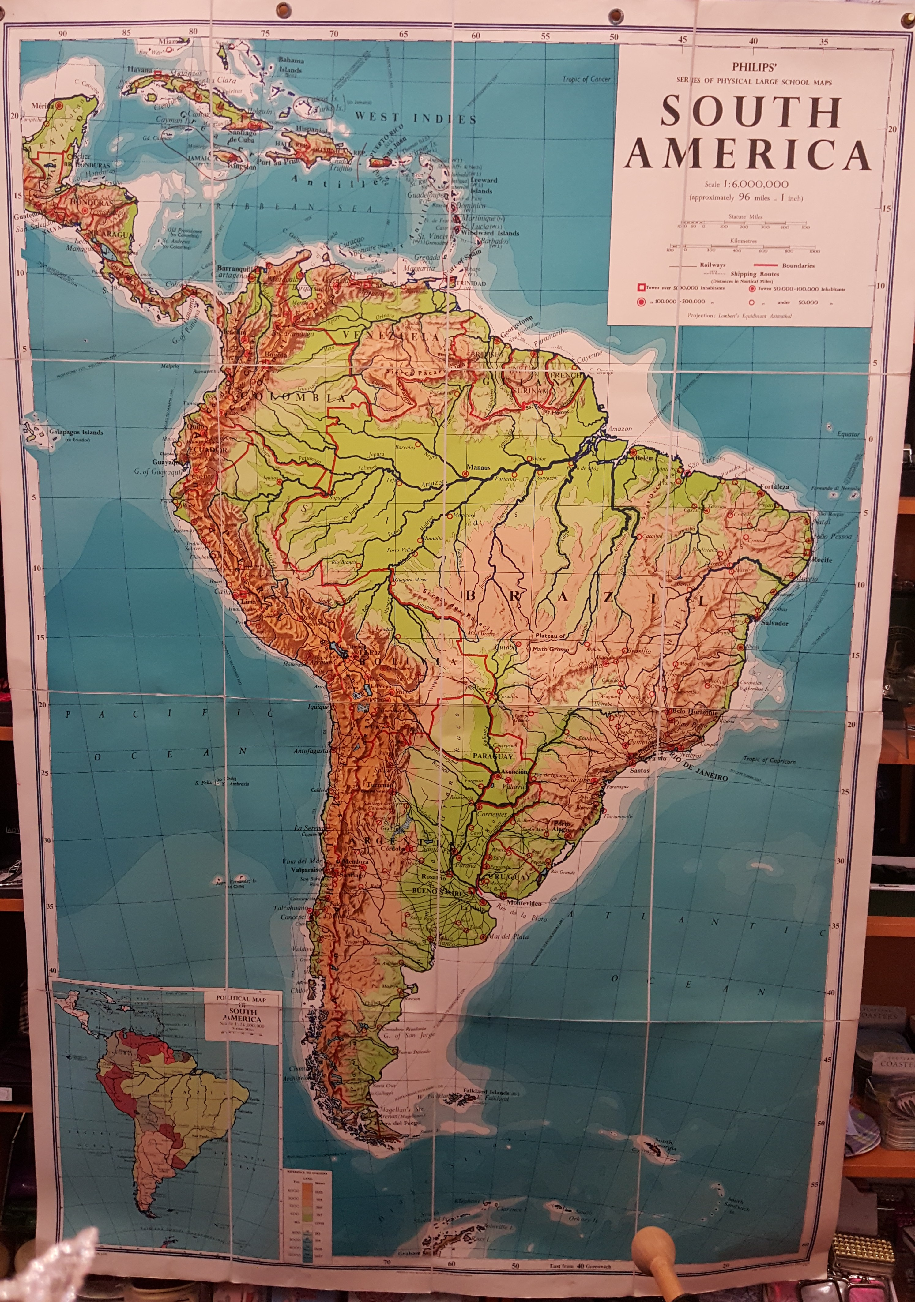 Image for Philips' Large School-Room Map of South America - Physical.