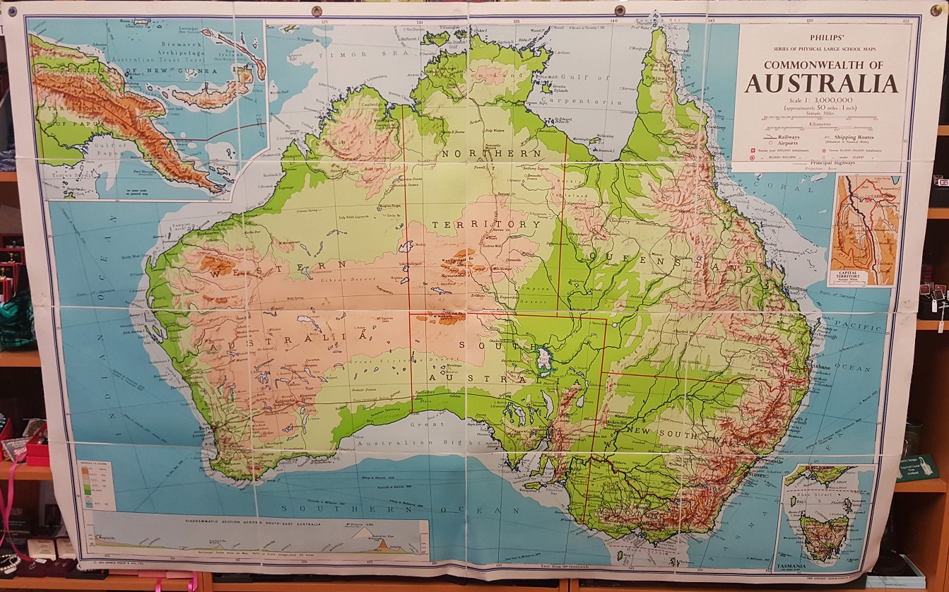 Large Map Of Australia.Philips Large School Room Map Of Australia Physical