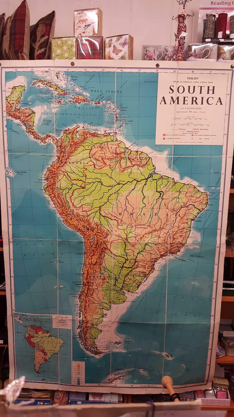 Image for Philips' Large School-Room Map of South America - Physical