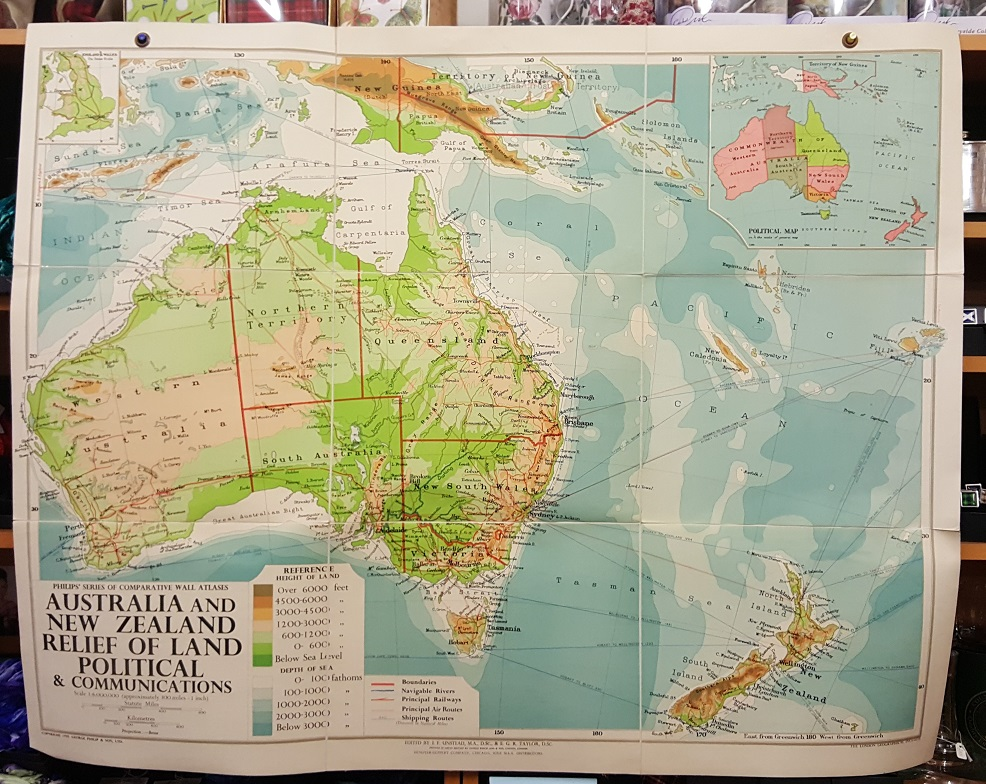 Image for Philips' Comparative Wall Atlas of Australia & New Zealand - Relief of Land and Communications