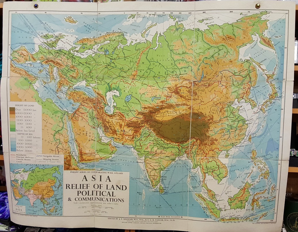 Image for Philips' Comparative Wall Atlas of Asia - Relief of Land and Communications
