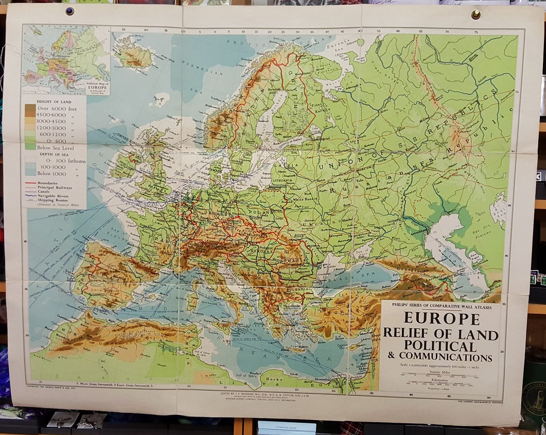 Image for Philips' Comparative Wall Atlas of Europe - Relief of Land and Communications