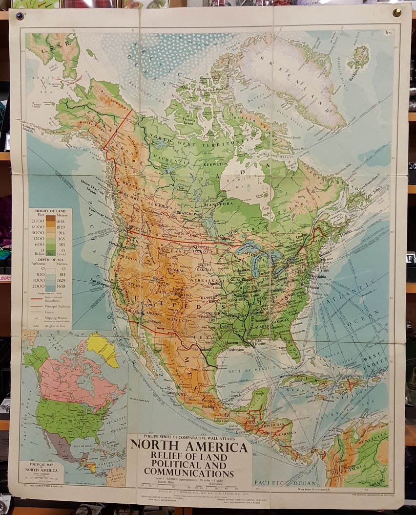 Image for Philips' Comparative Wall Atlas of North America - Relief of Land, Political and Communications