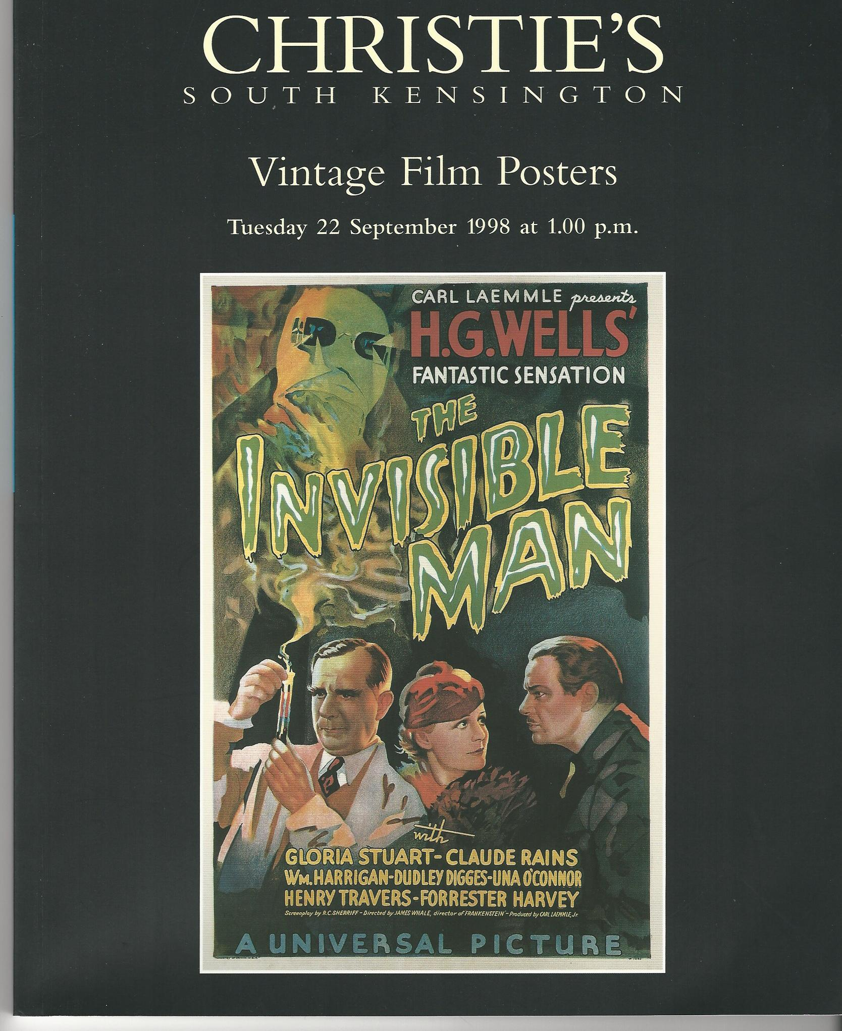 Image for Christie's South Kensington Vintage Film Posters, 22 September 1998.