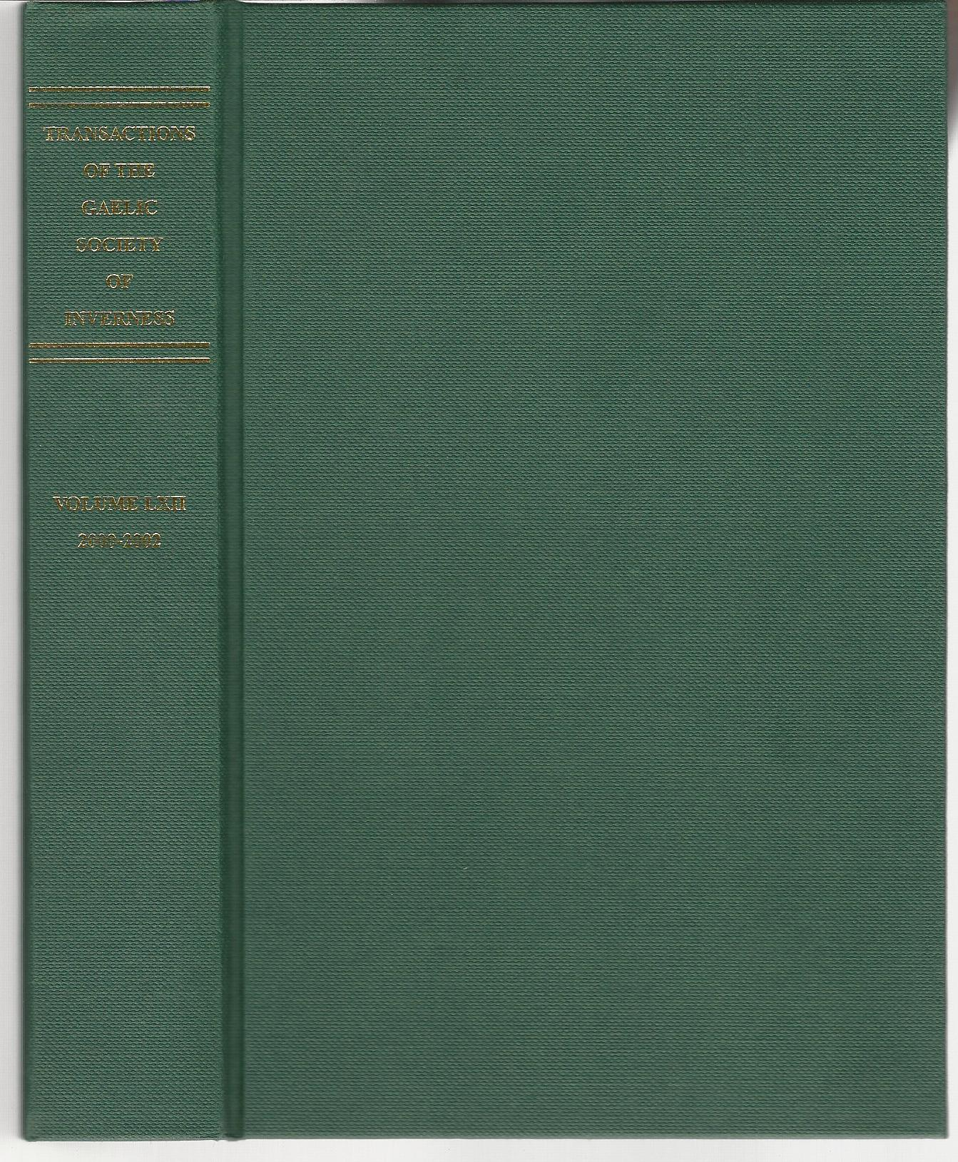 Image for Transactions of the Gaelic Society of Inverness: Volume LXII 2000-2002