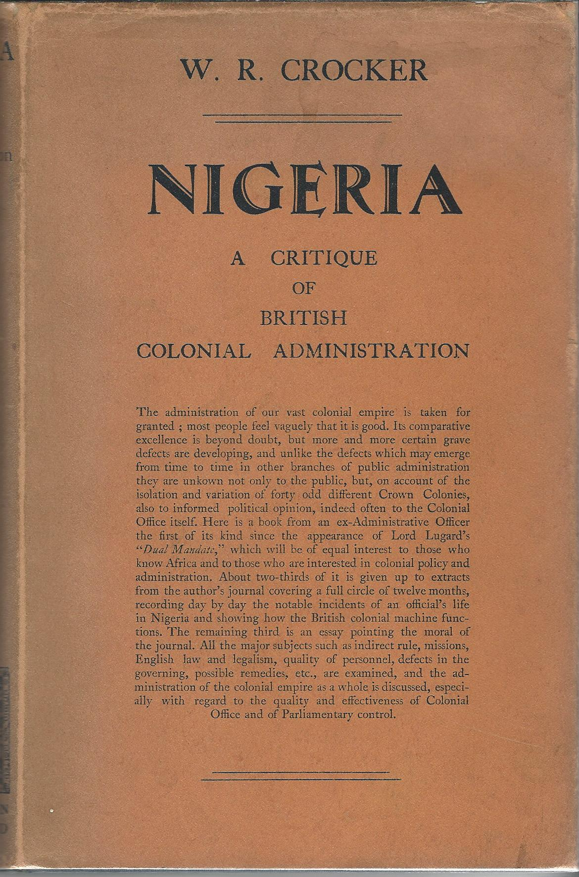 Image for Nigeria: A Critique of British Colonial Administration.