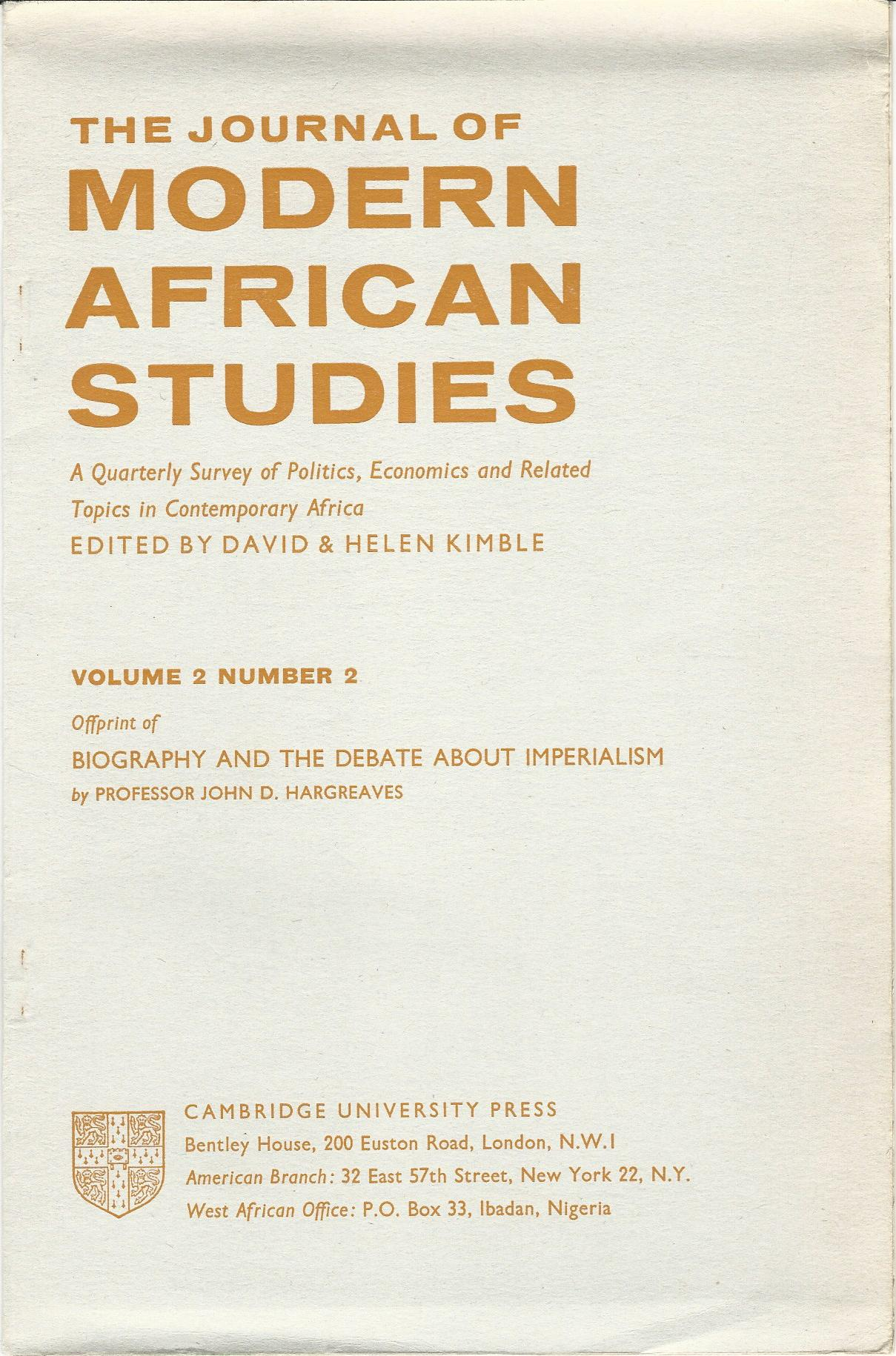 Image for The Journal of Modern African Studies: A Quarterly Survey of Politics, Economics and Related Topics in Contemporary Africa Vol.2, No.2.