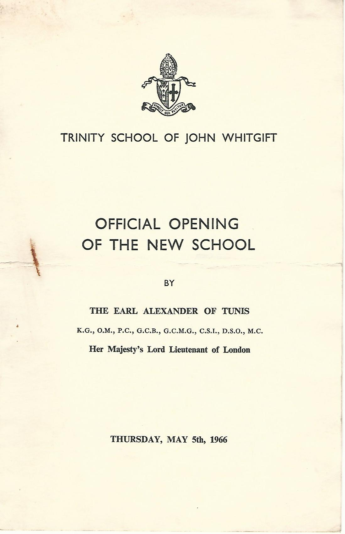 Image for Trinity School of Johm Whitgift: Official Opening of the New School.