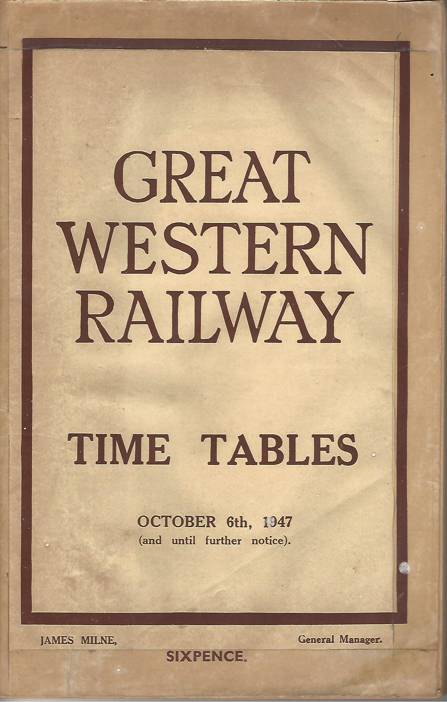 Image for Great Western Railway Time Tables October 6th 1947.