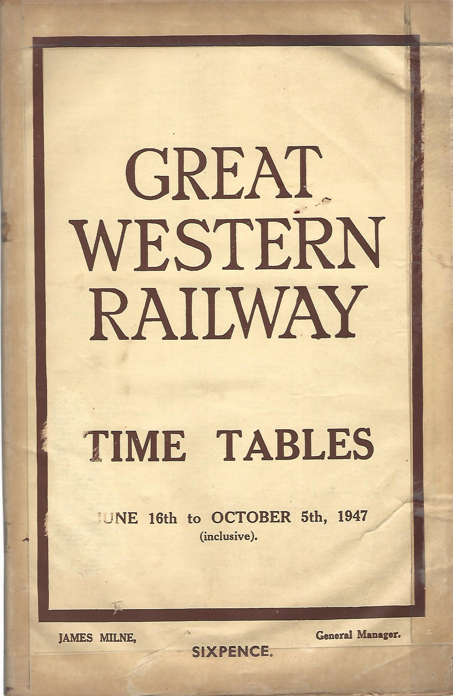 Image for Great Western Railway Time Tables October 16th 1947.