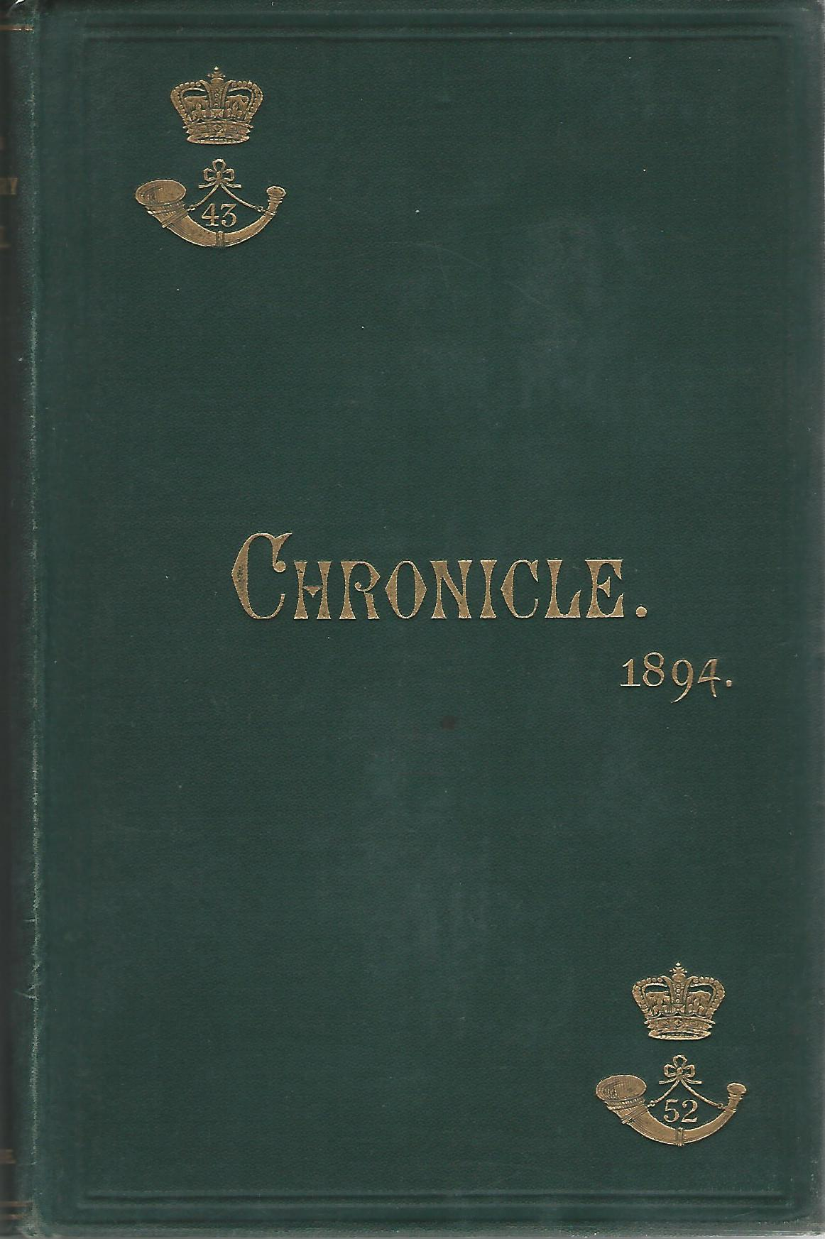 Image for The 43rd & 52nd Light Infantry Chronicle 1894.
