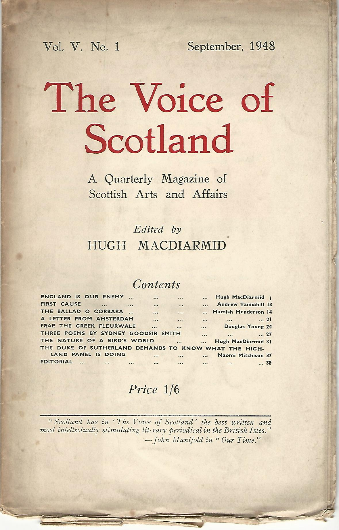 Image for The Voice of Scotland: A Quarterly Magazine of Scottish Arts and Affairs. Vol. V. No. 1. September 1948
