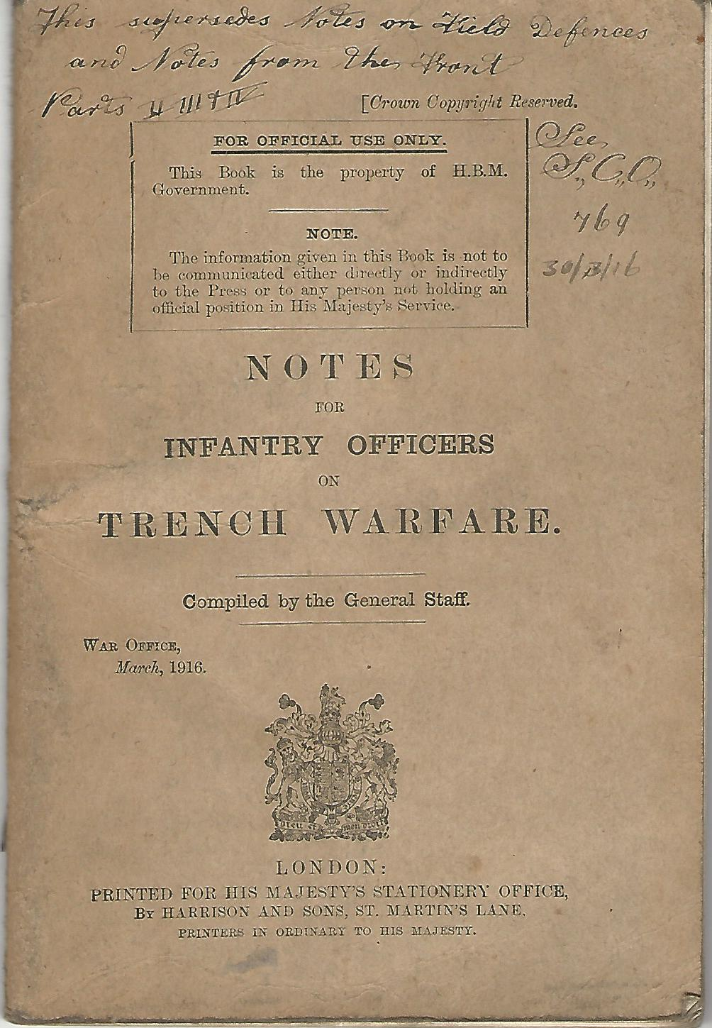 Image for Notes for Infantry Officers on Trench Warfare.