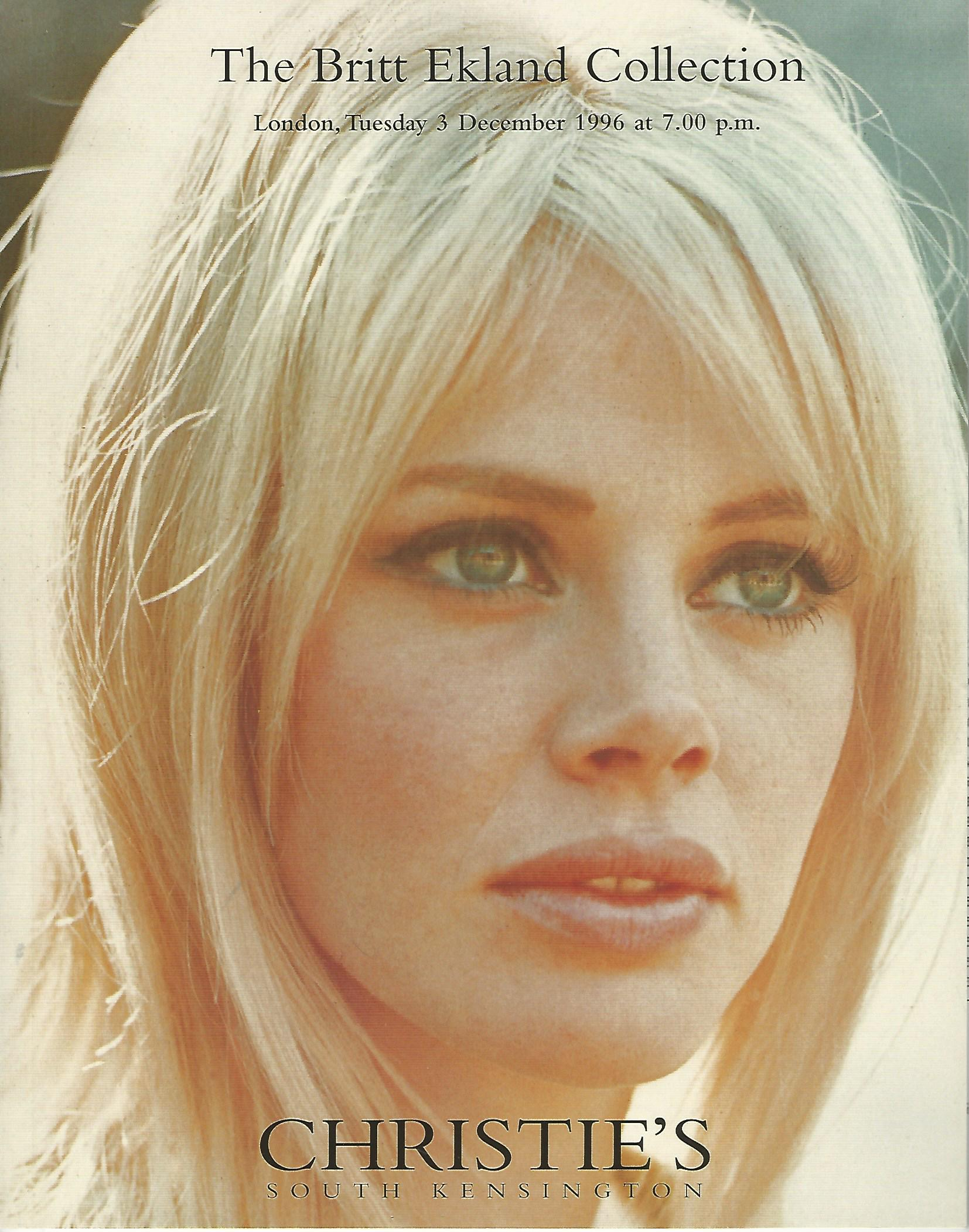 Image for Christie's: The Britt Ekland Collection, London, Tuesday 3 December 1996.