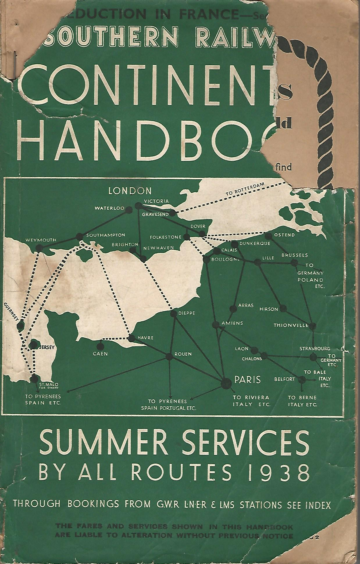 Image for Southern Railway Continental Handbook Summer Services 1938.