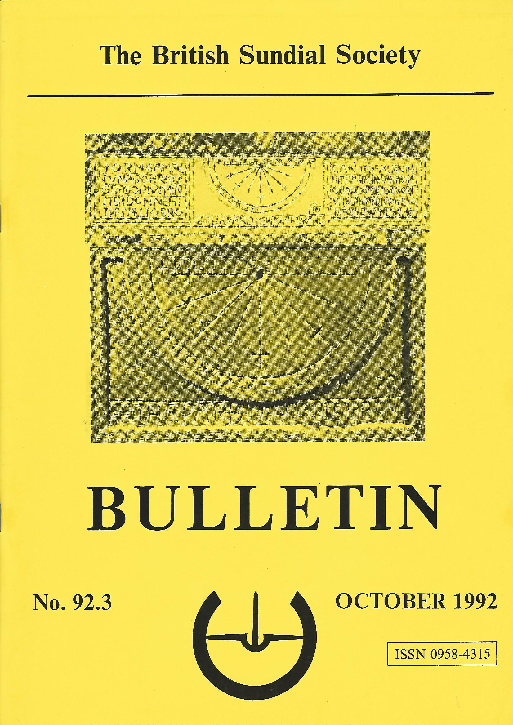 Image for The British Sundial Society Bulletin No. 92.3, October 1992.