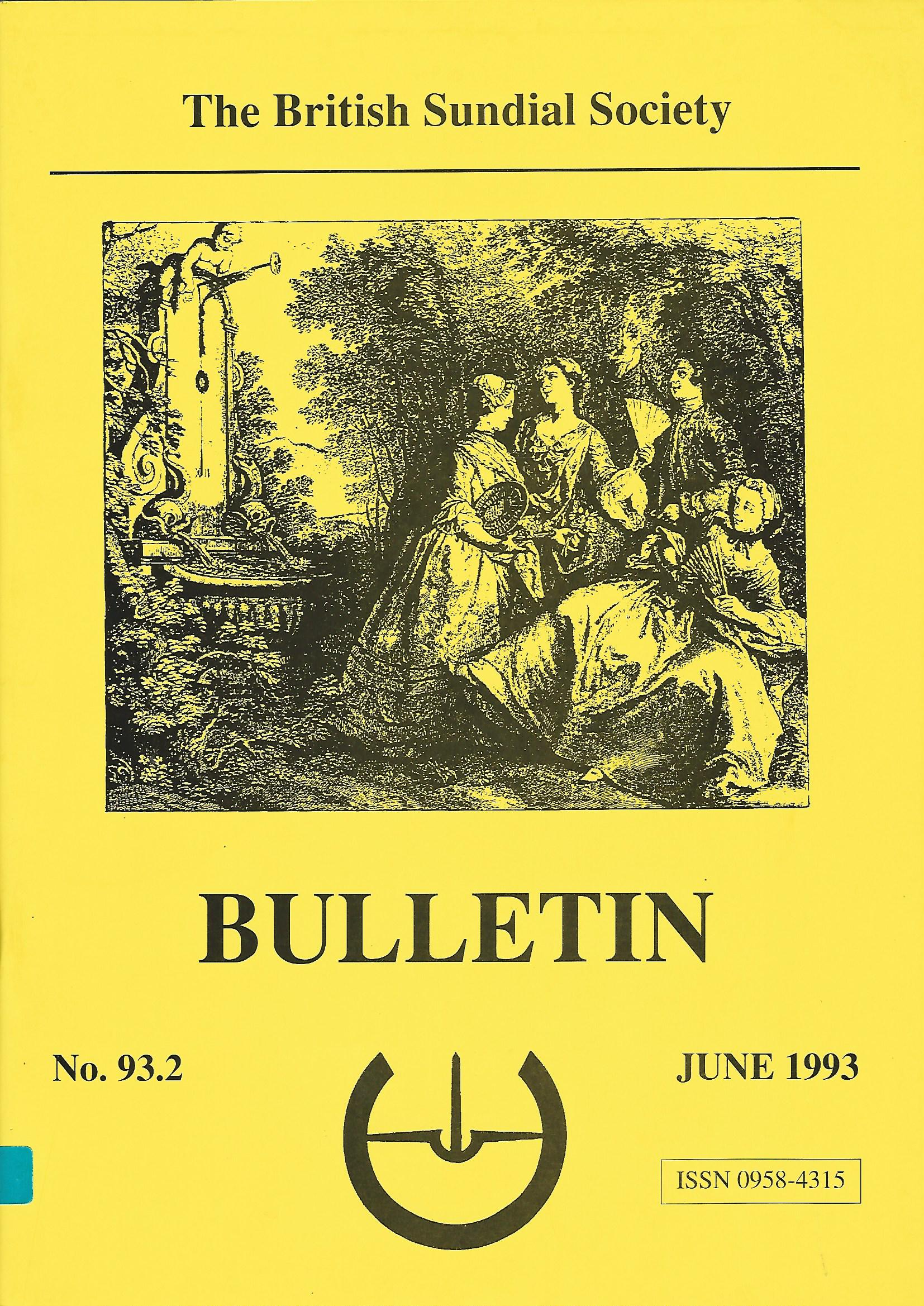 The British Sundial Society Bulletin No. 93.2, June 1993.