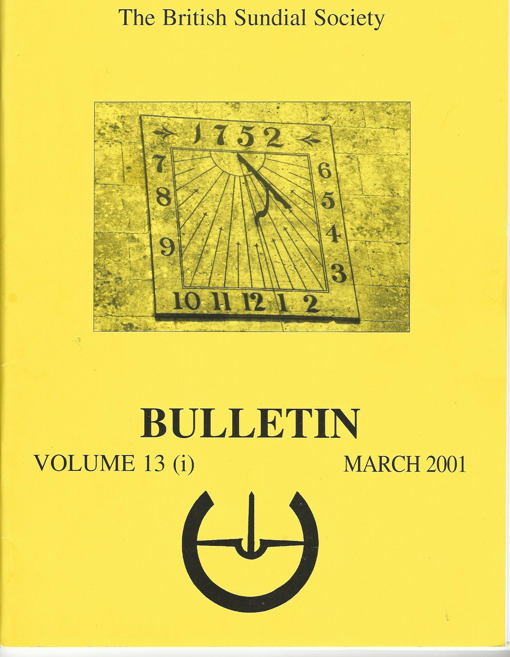 Image for The British Sundial Society Bulletin Volume 13 (i) March 2001.
