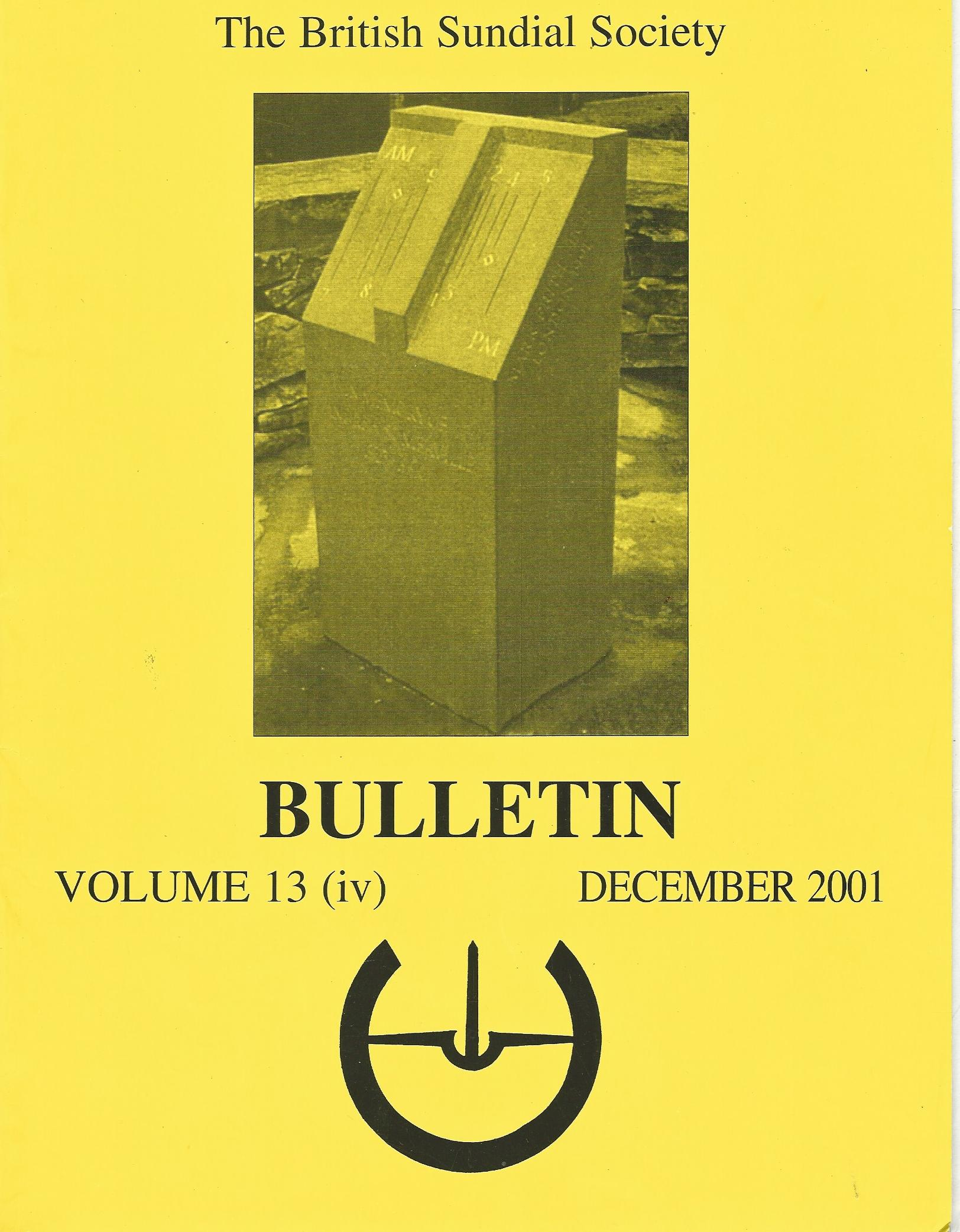 Image for The British Sundial Society Bulletin Volume 13 (iii) September2001.
