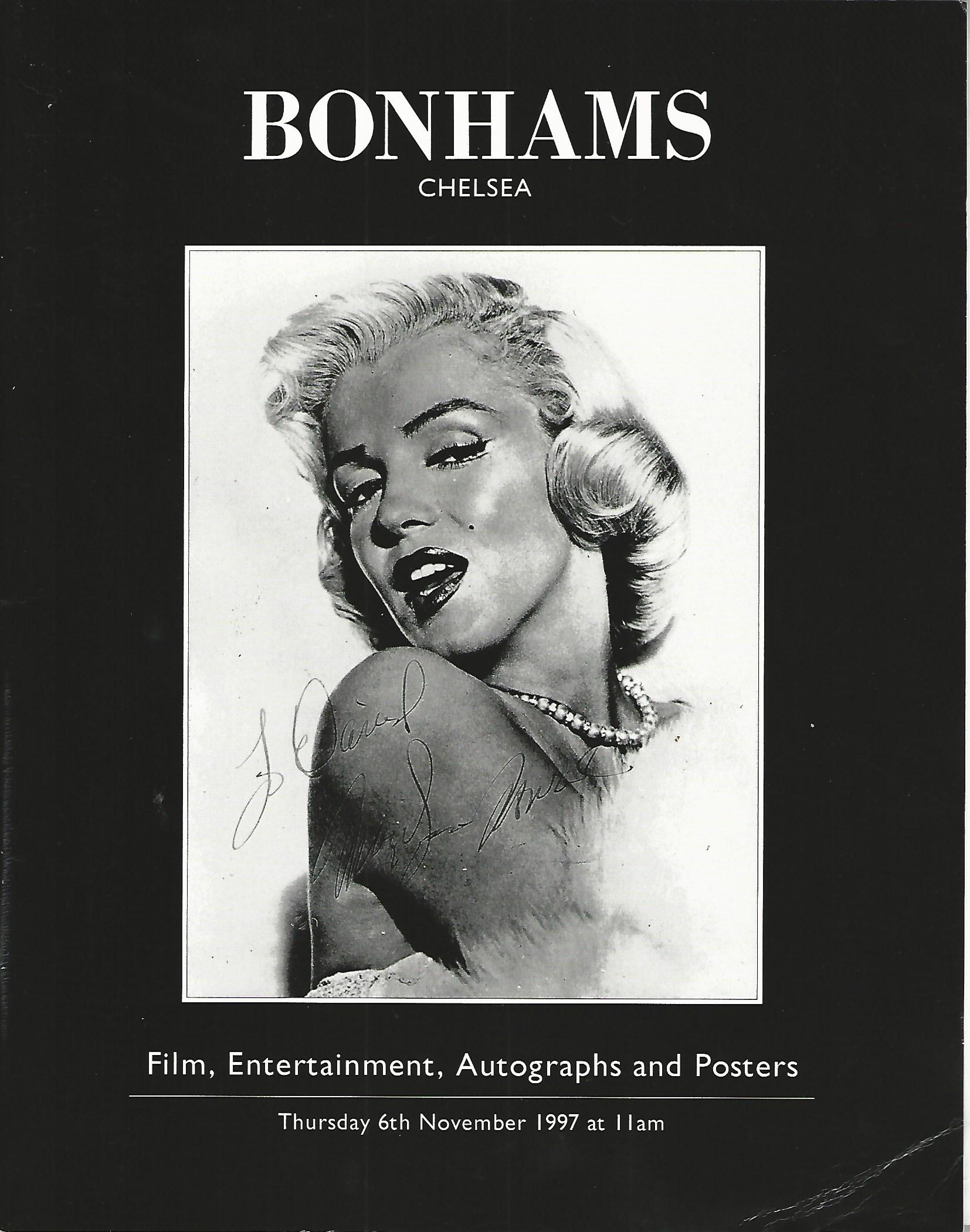 Image for Bonhams Chelsea Catalogue: Film, Entertainment, Autographs and Posters: Thursday 6th November 1997.