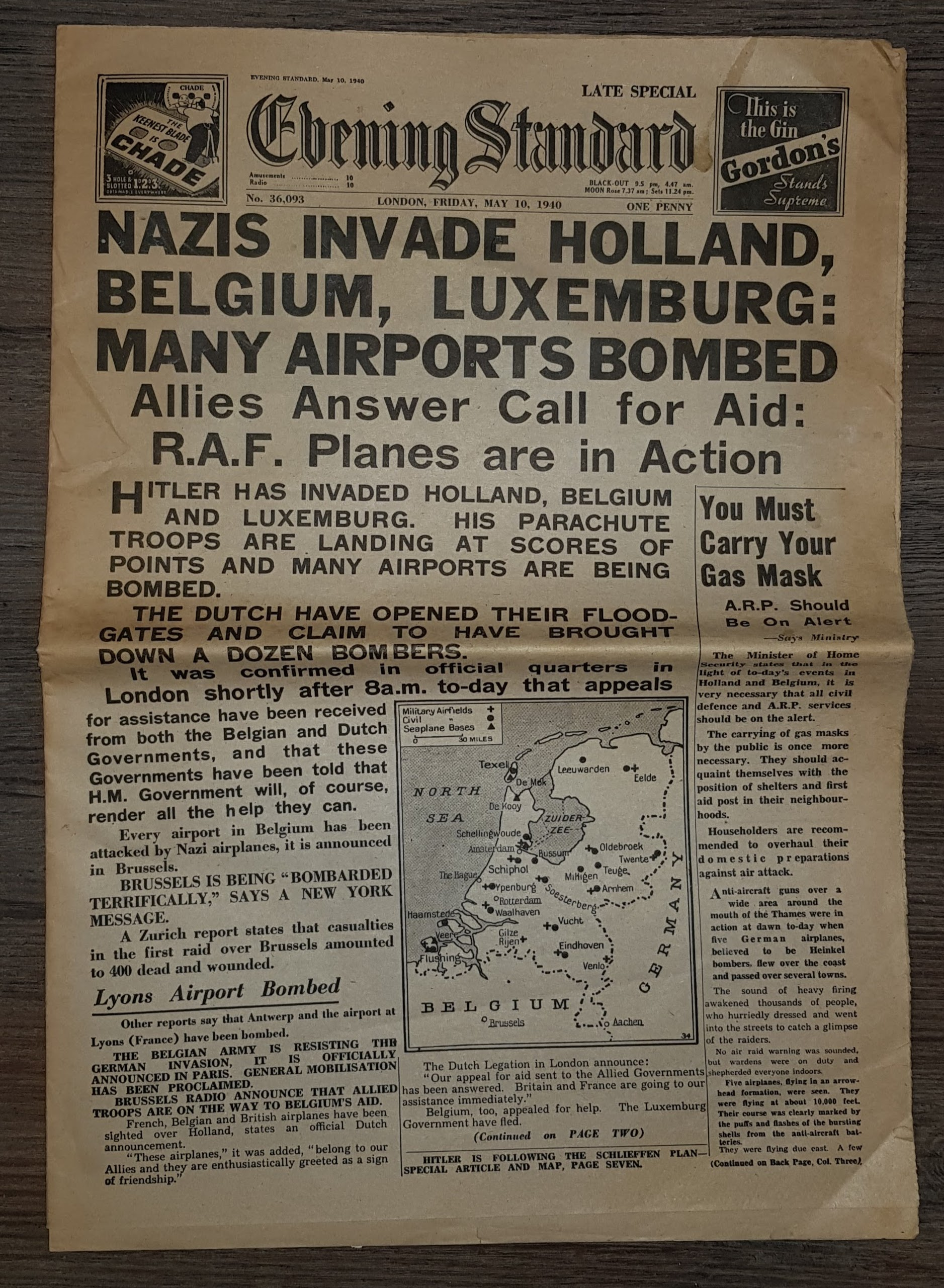 Image for Evening Standard May 10, 1940, Nazis Invade Holland, Belgium, Luxemburg: Many Airports Bombed.