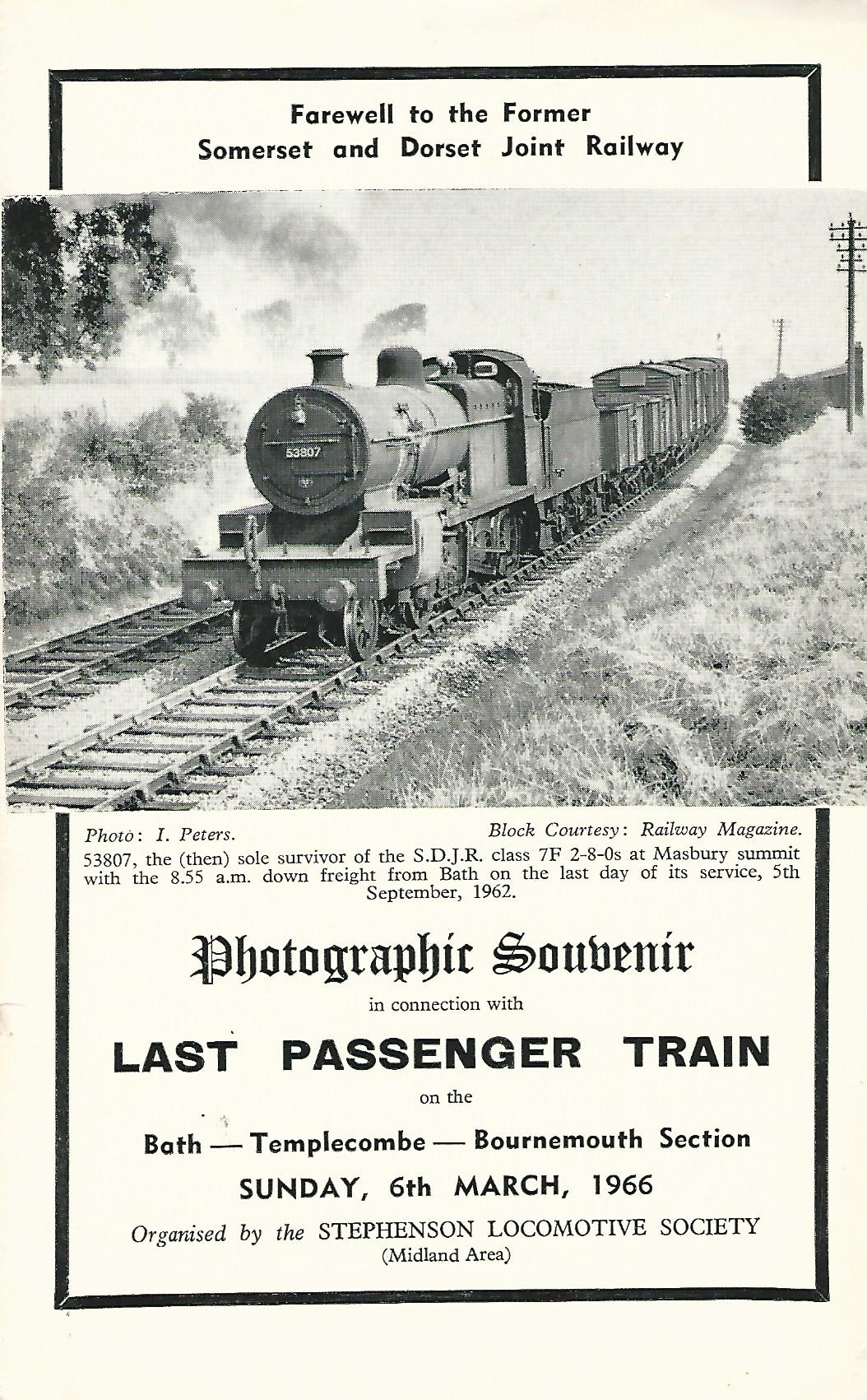 Image for Photographic Souvenir in connection with Last Passenger Train on the Bath - Templecombe - Bournemouth Section.