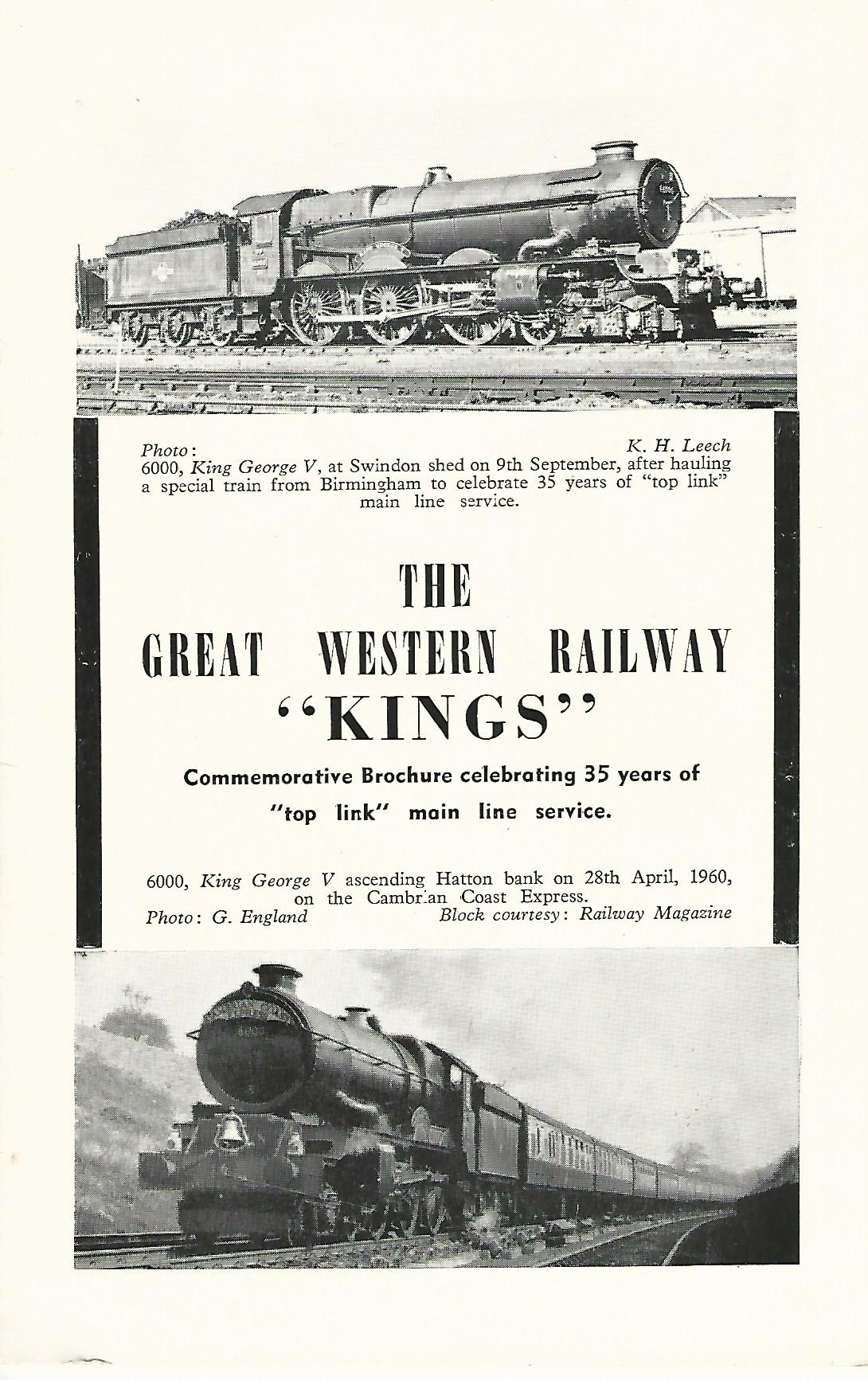Image for The Great Western Railway 'Kings' Commemorative Brochure celebrating 35 years of 'top link' main rail service.