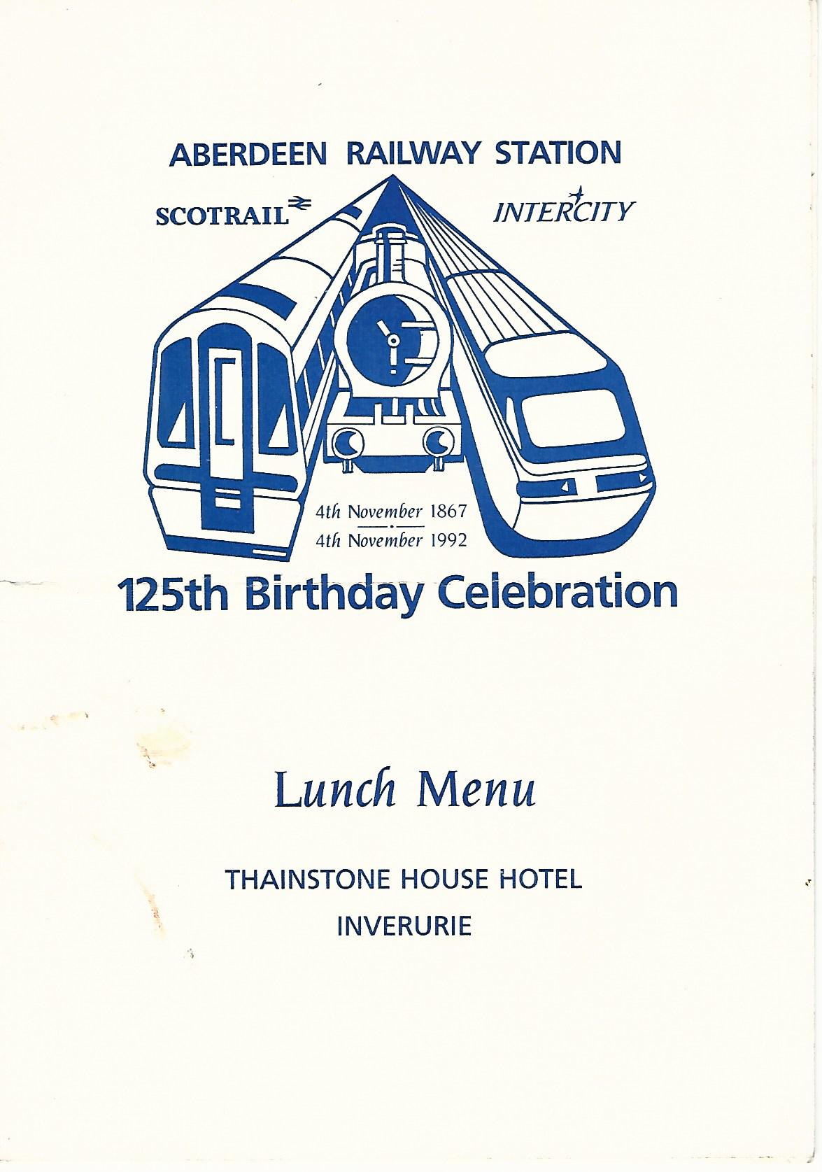 Image for Aberdeen Railway Station 125th Birthday Celebrations Lunch Menu at Thainstone House Hotel, Inverurie.