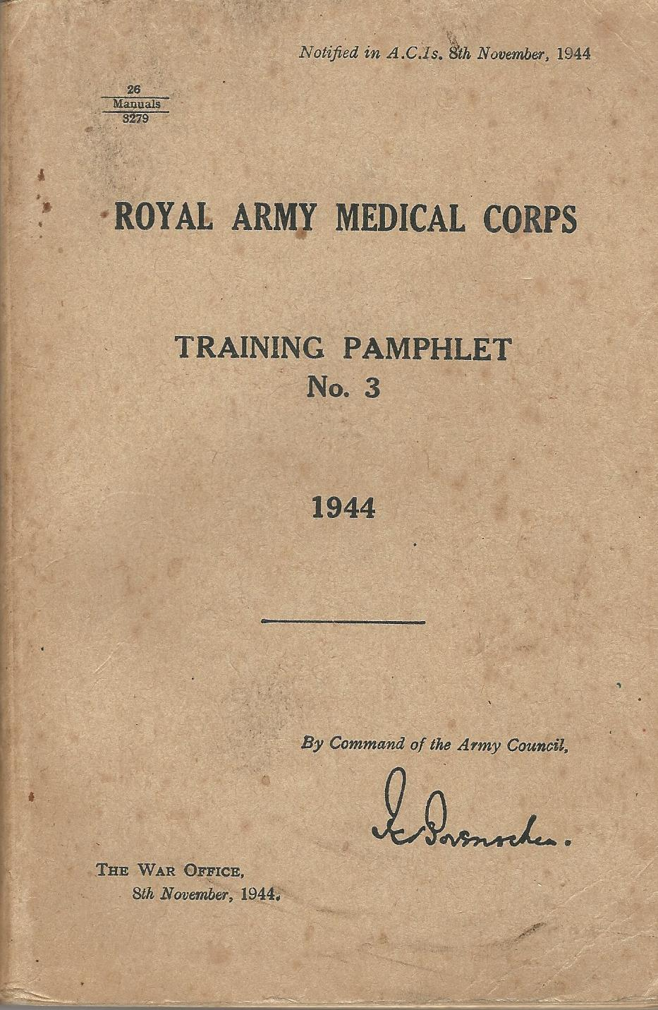 Image for Royal Army Medical Corps Training Pamphlet No.3 1944