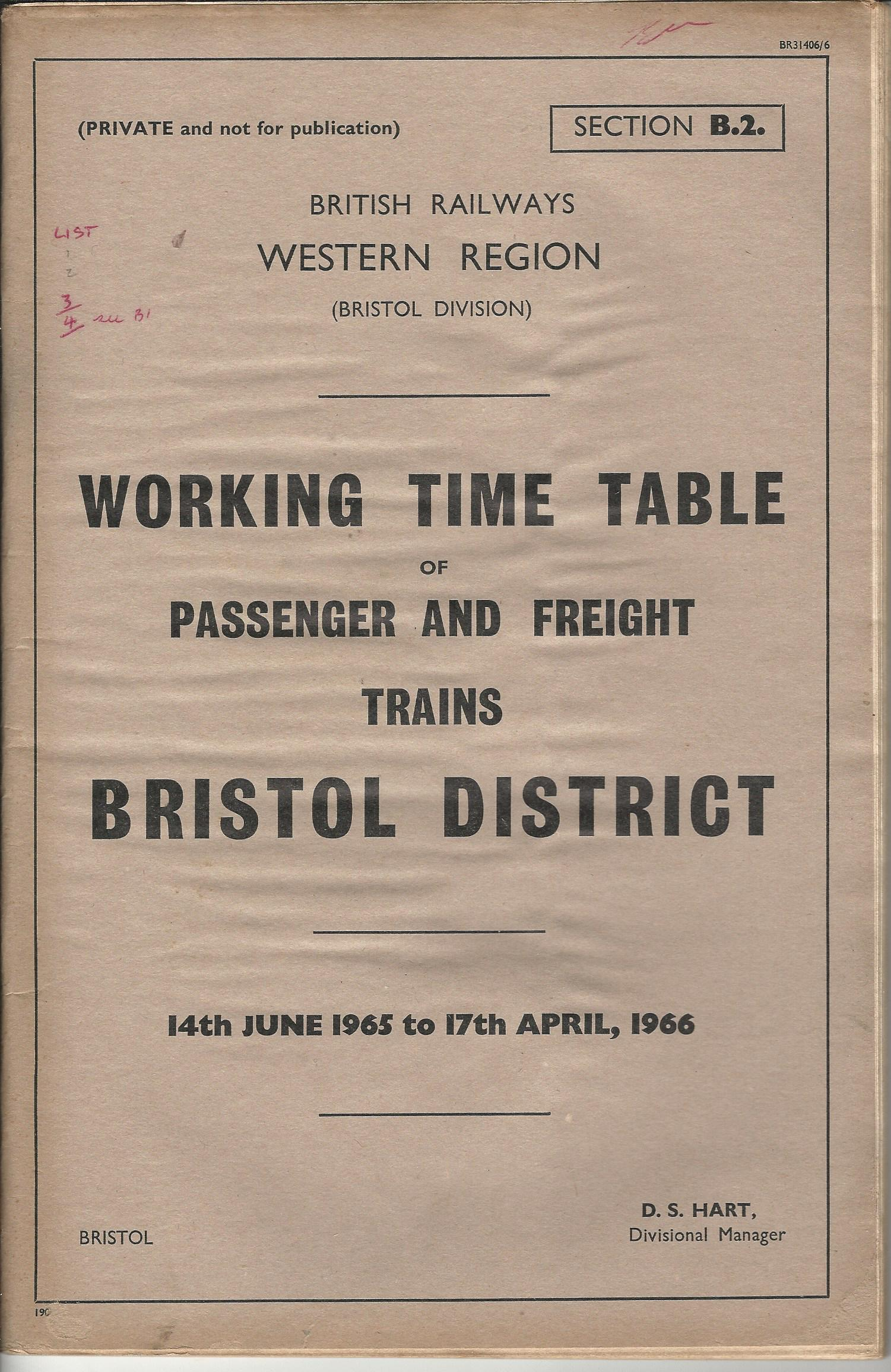 Image for British Railways Western Region: Bristol  Division: Working Time Table of Passenger and Freight Trains:  Bridgewater to Plymouth and Exeter to Ilfracombe and Branches.