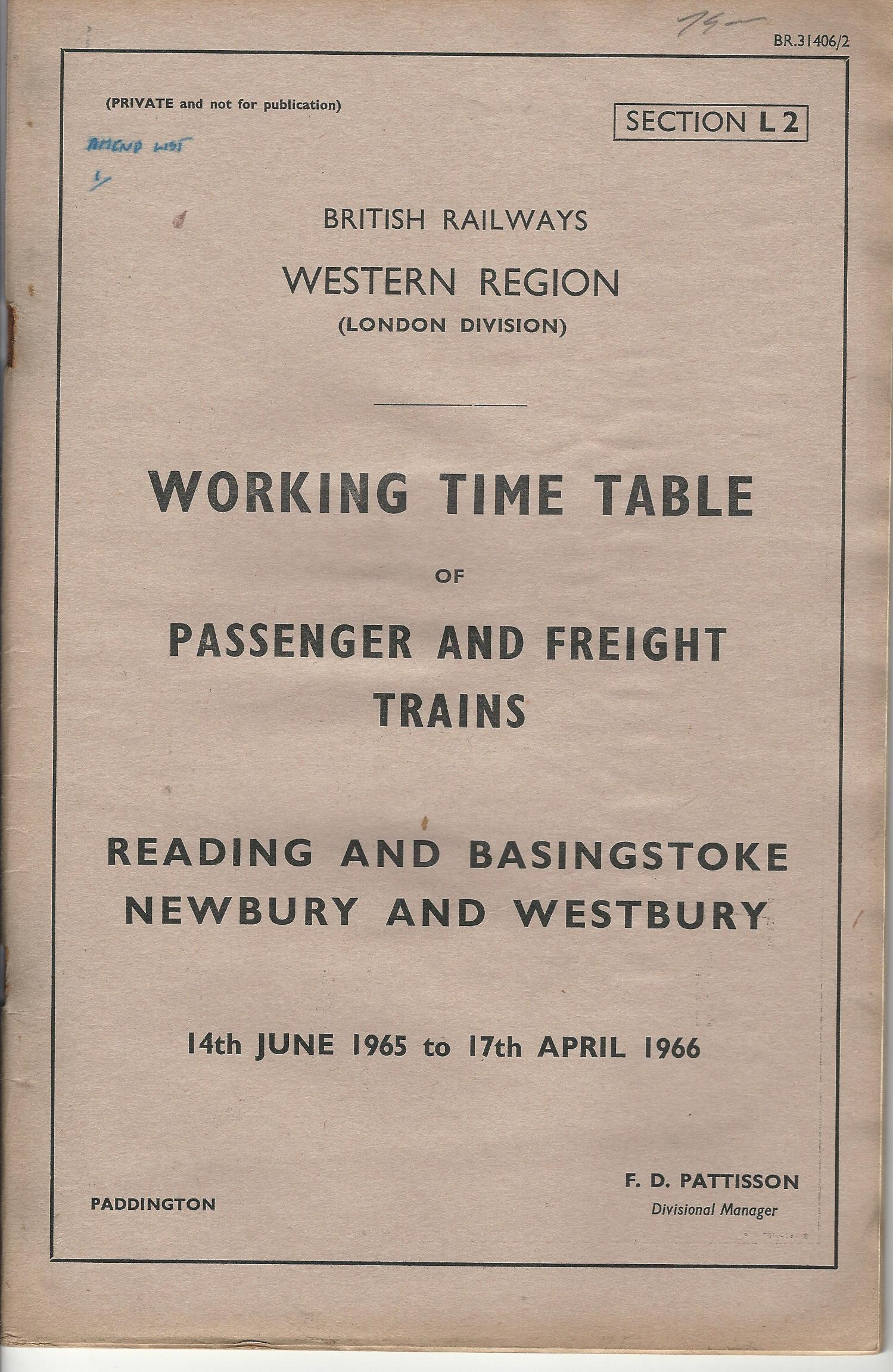 Image for British Railways Western Region: Working Time Table of Passenger and Freight Trains: Reading and Basingstoke, Newbury and Westbury.