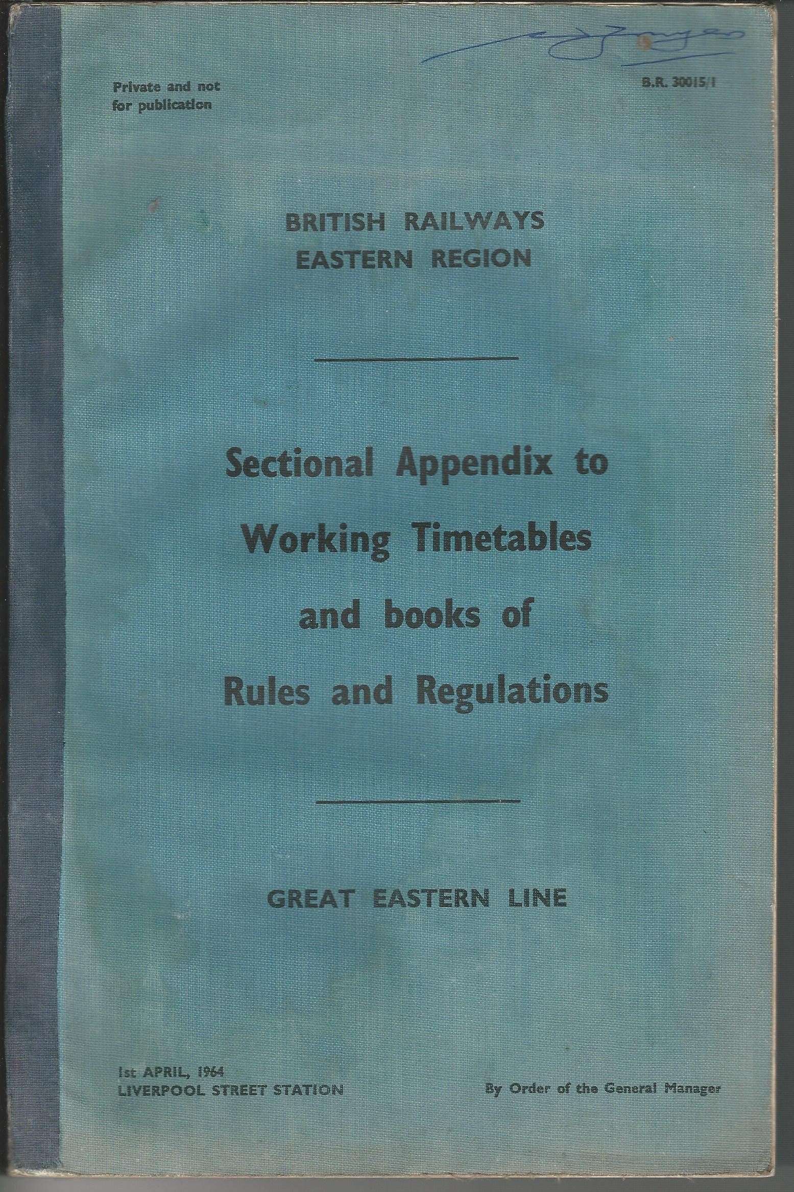 Image for British Railways Eastern Section: Sectional Appendix to Working Timetables and books of Rules and Regulations.
