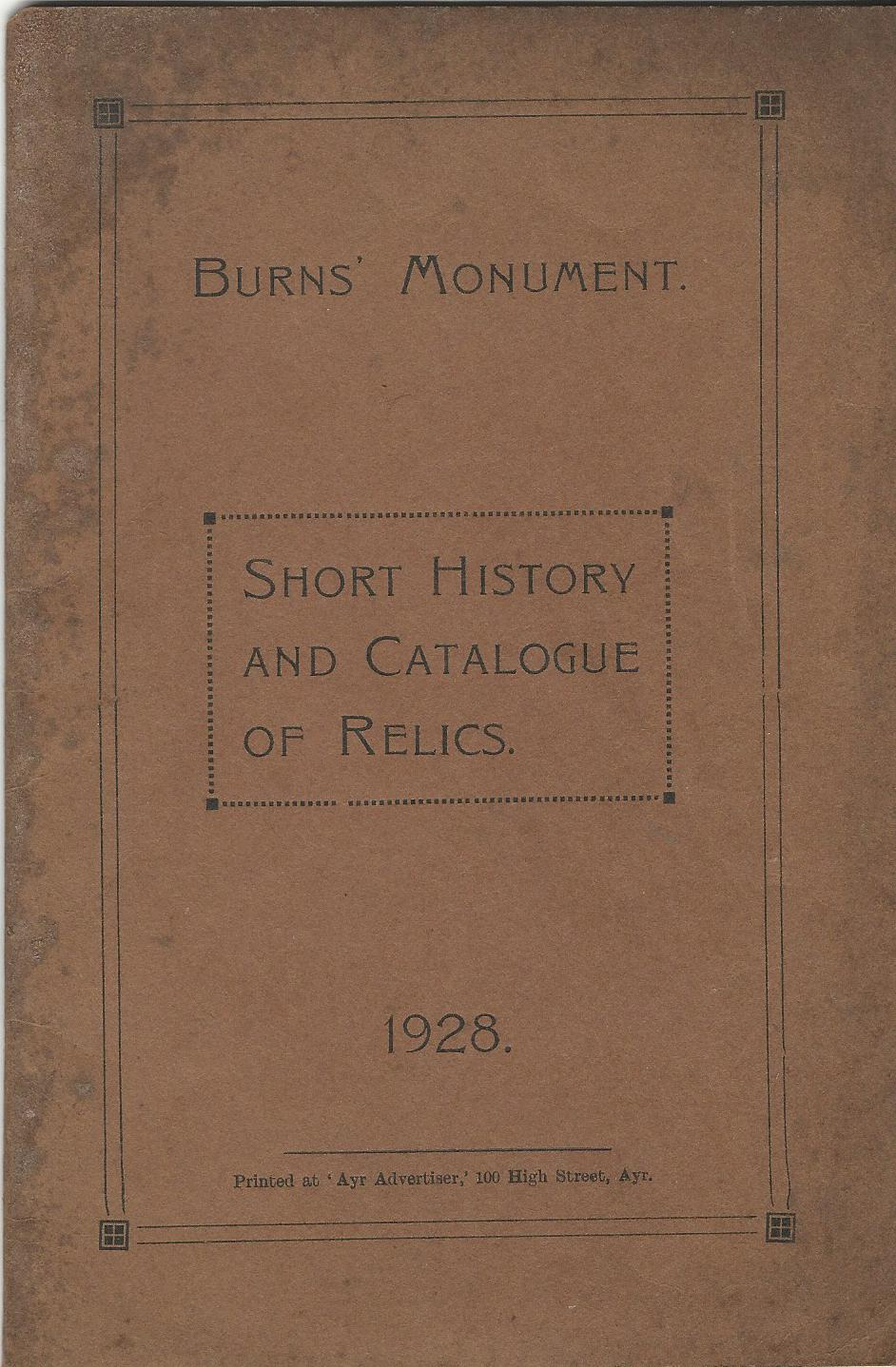 Image for Burns' Monument: Short History and Catalogue of Relics