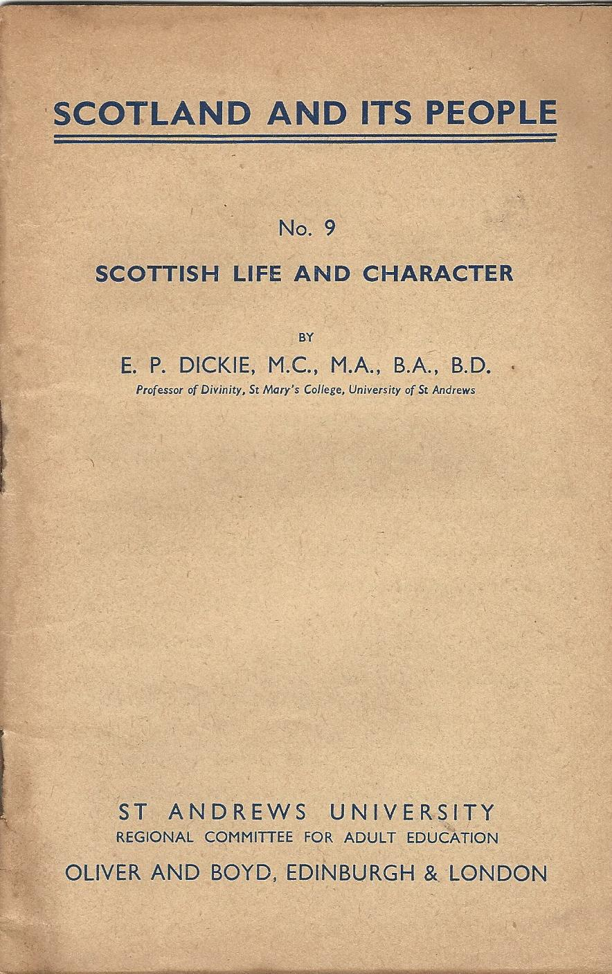 Image for Scotland and its People No. 9: Scottish Life and Character