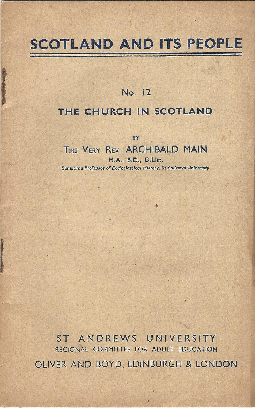 Image for Scotland and its People No. 12: The Church in Scotland