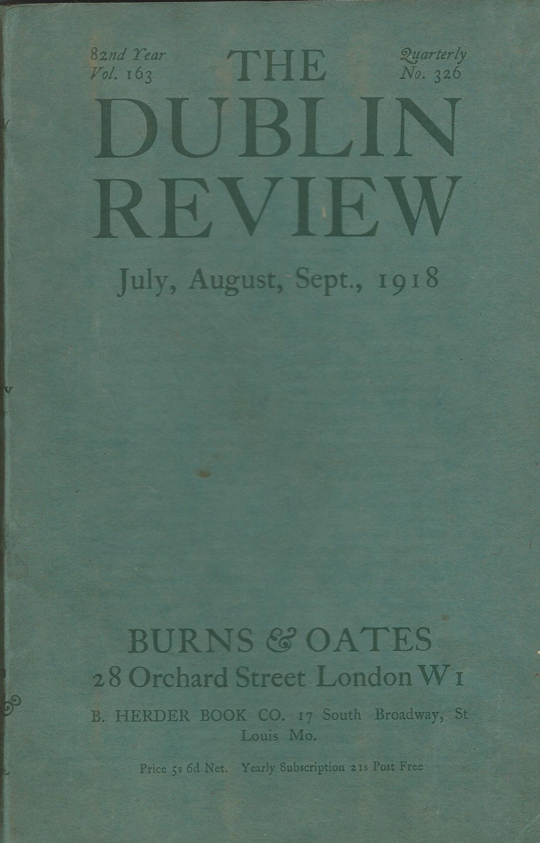 Image for The Dublin Review: July, August, September 1918. Vol.163, No.326.