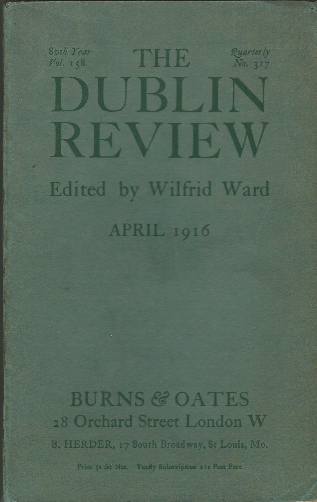 Image for The Dublin Review: April 1916 Vol. 158, No.317