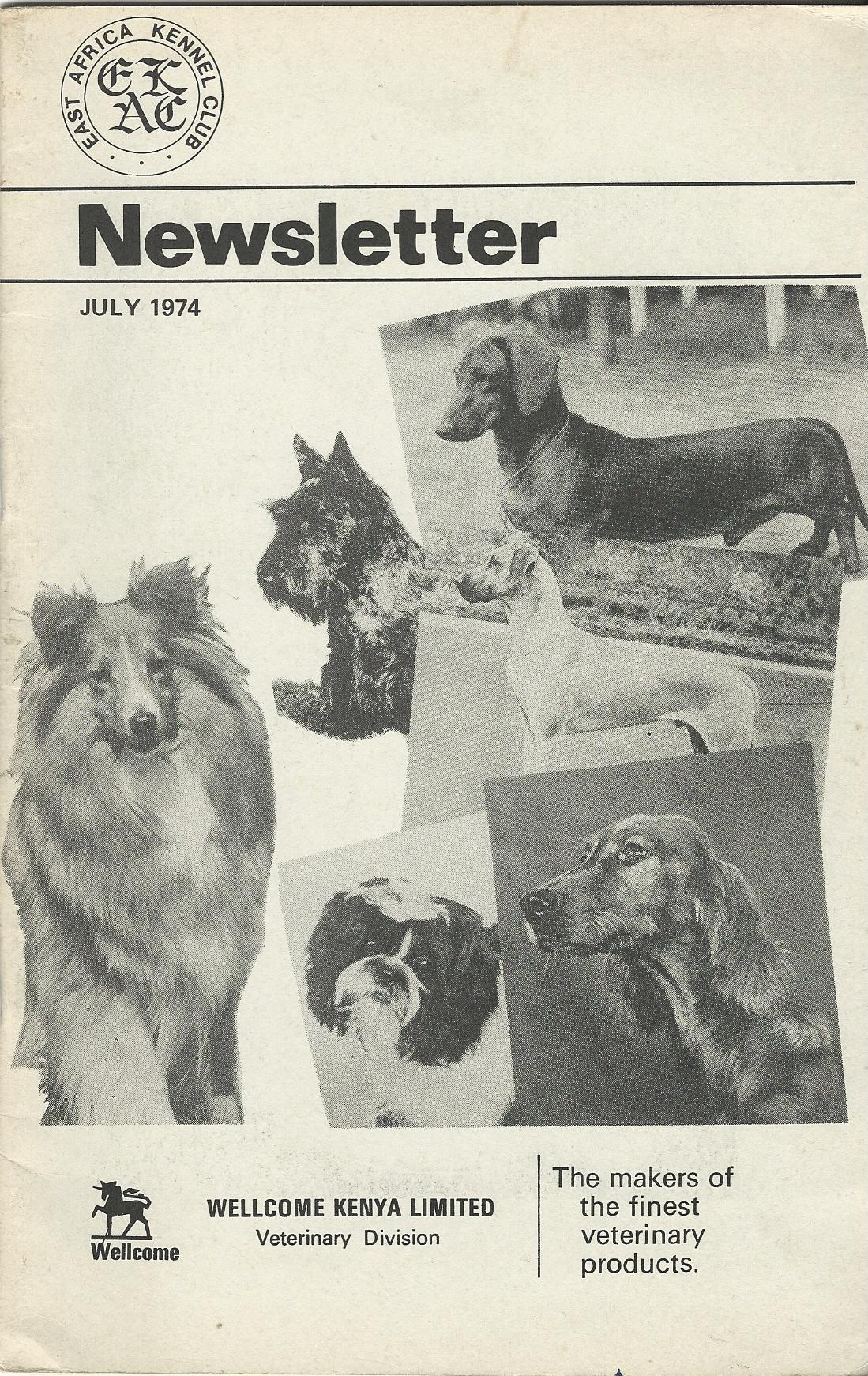 Image for East Africa Kennel Club Newsletter November 1971.