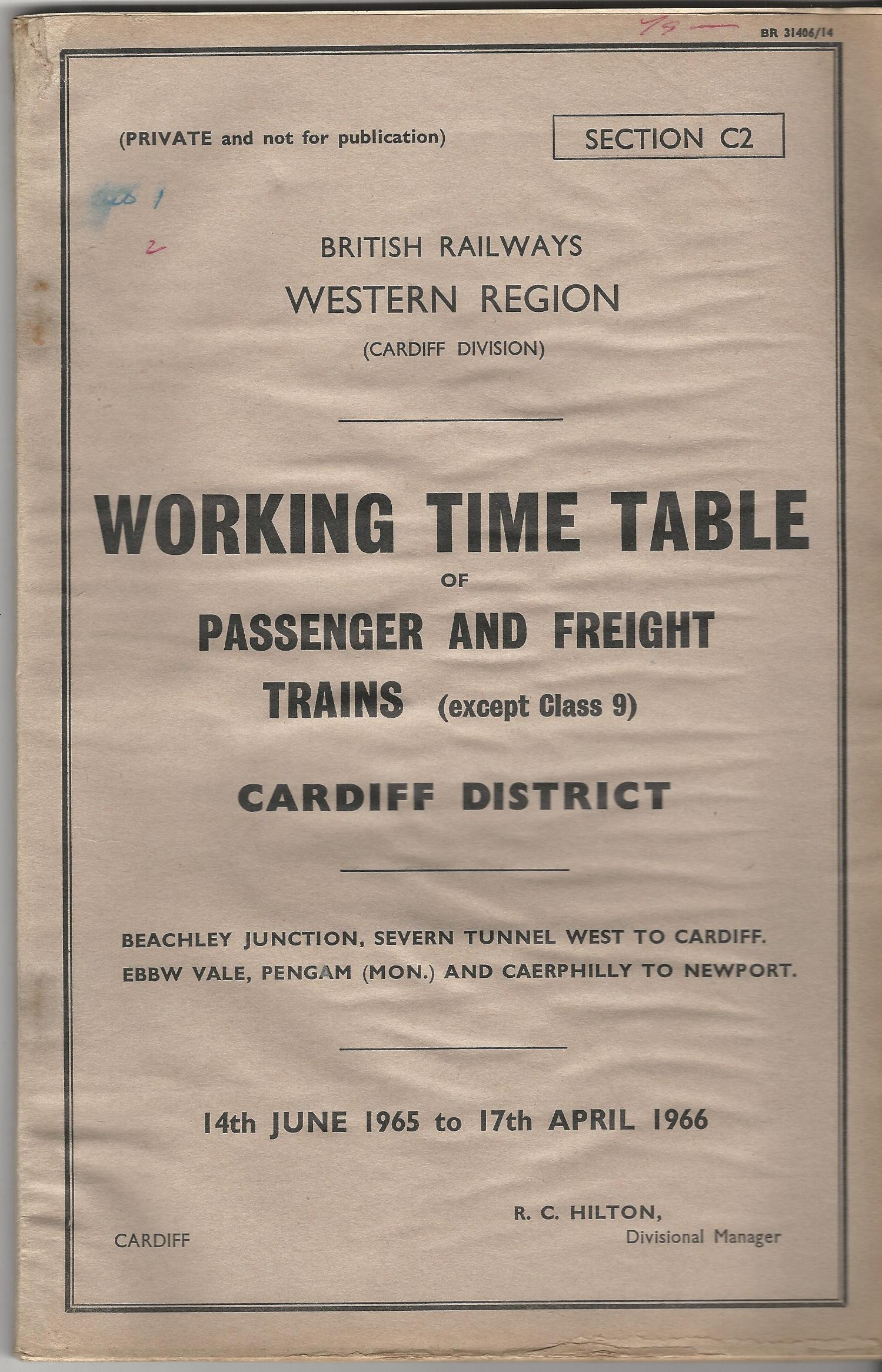 Image for British Railways Western Region: Working Timetable of Passenger and Freight Trains (Except Class 9): Cardiff District 14th June 1965 to 17th April 1966