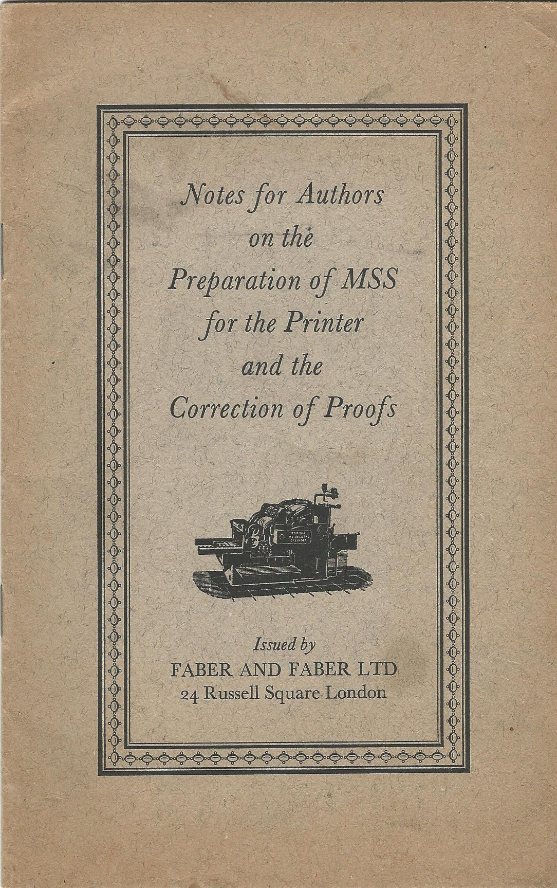 Image for Notes for Authors on the Preparation of MSS for the Printer and the Correction of Proofs.