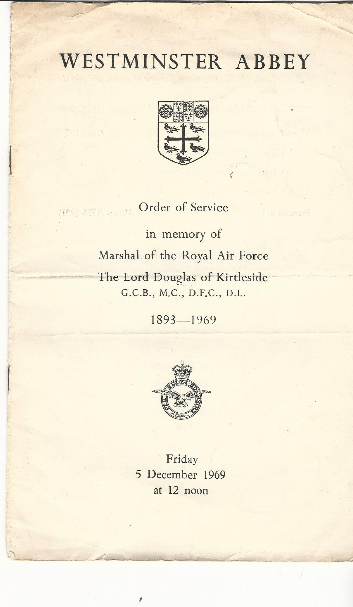 Image for Westminster Abbey: Order of Service in Memory of Marshal of the Royal Air Force The Lord Douglas of Kirtleside 1893 - 1969. Friday 5 December 1969.