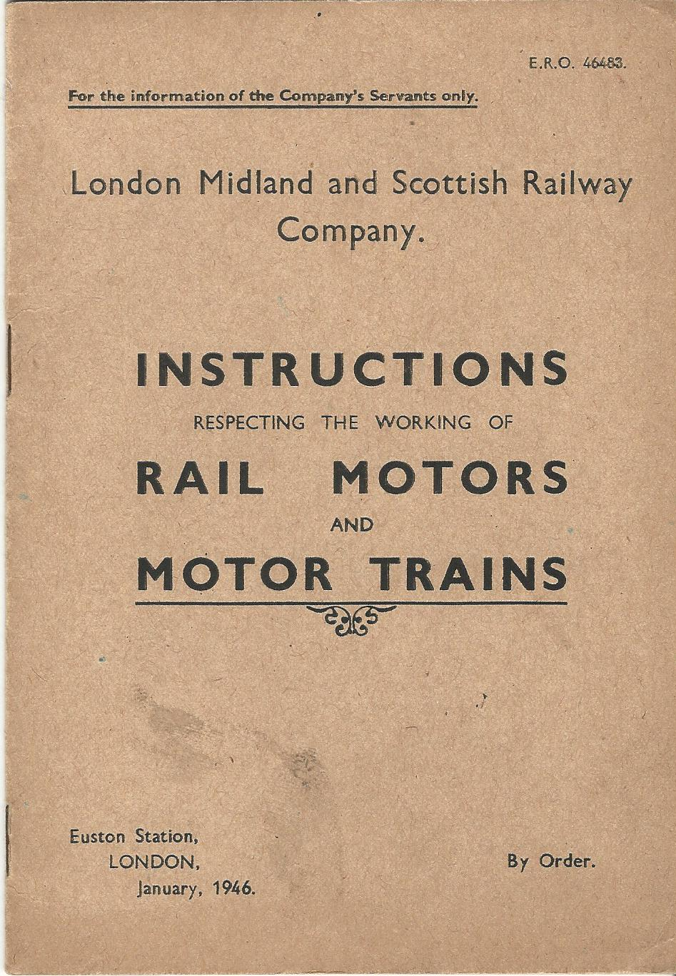 Image for London, Midland and Scottish Railway Company: Instructions Respecting the Working of Rail Motors and Motor Trains