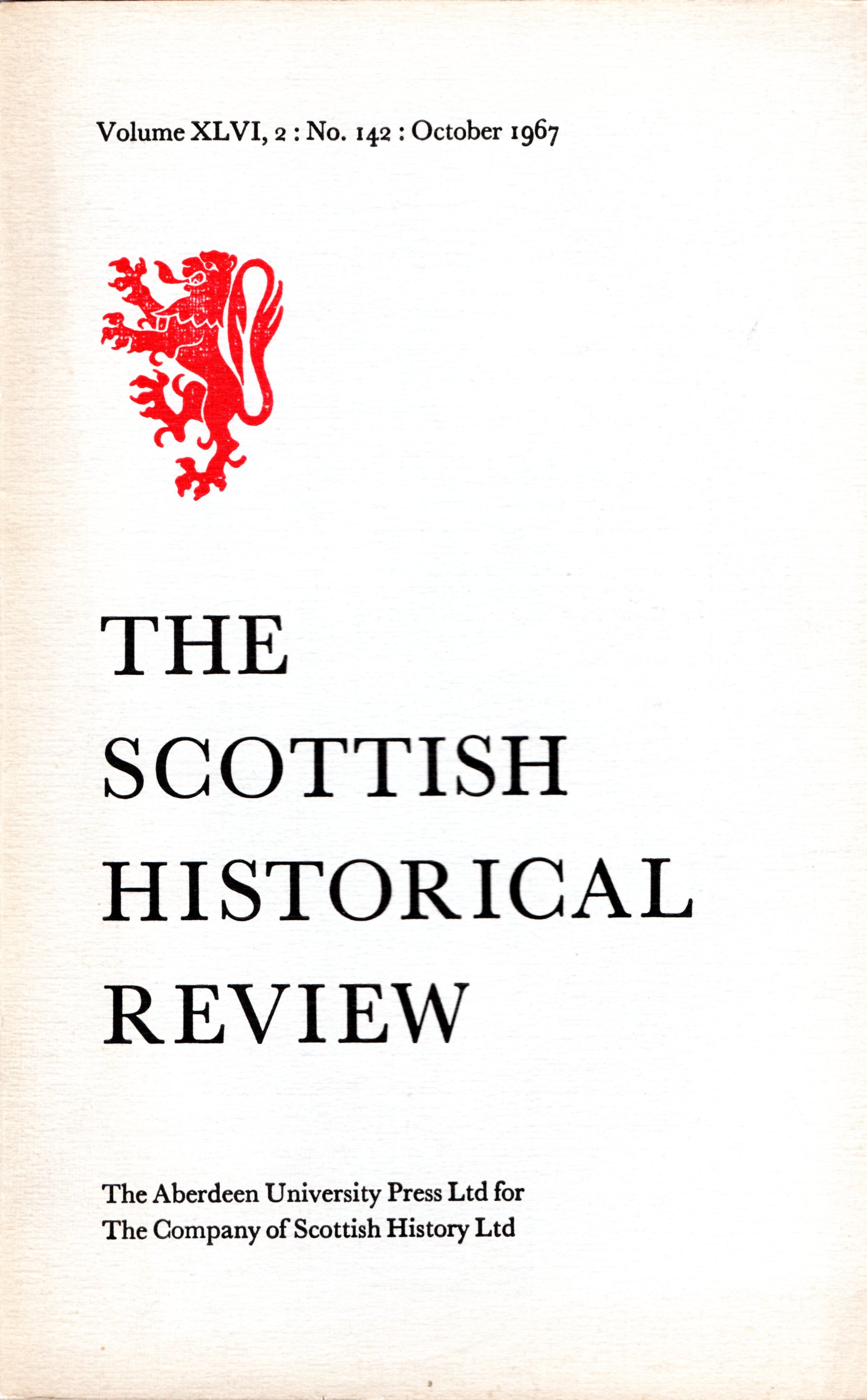 Image for The Scottish Historical Review Volume XLVI, 2: No. 142: October 1967